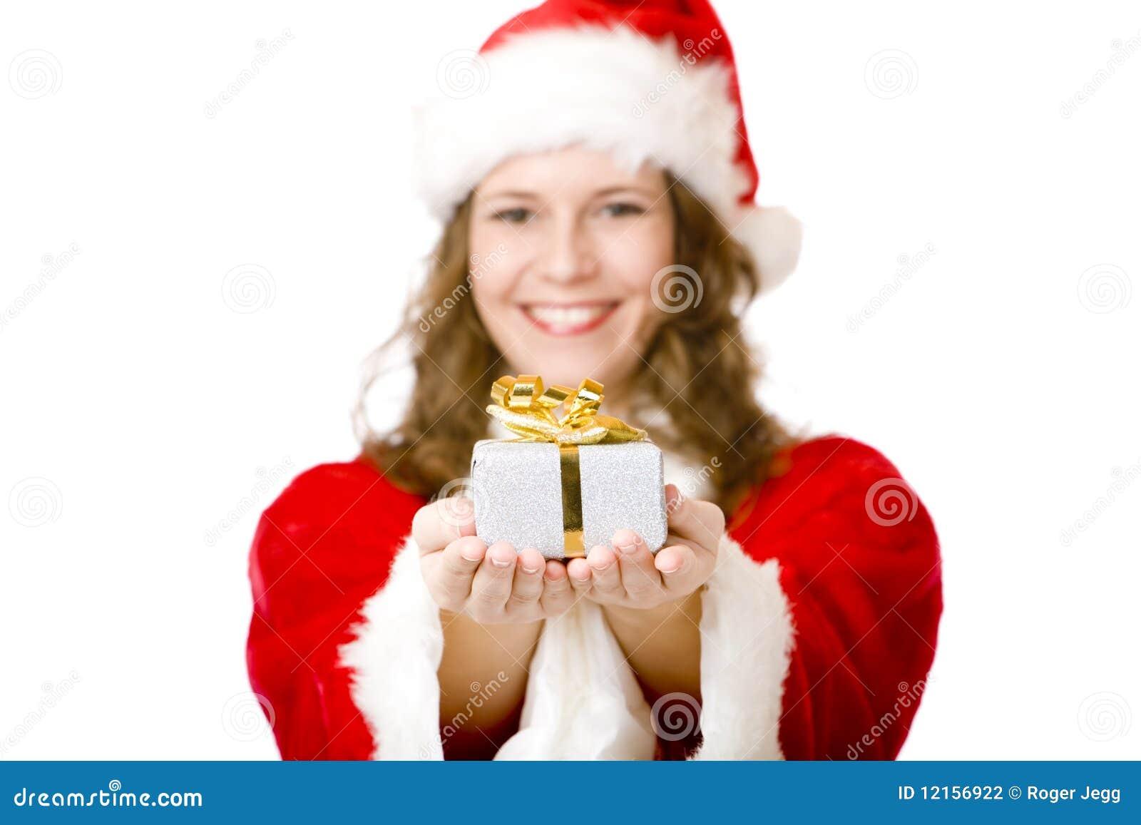 Glückliche Weihnachtsmann-Frau, Die Weihnachtsgeschenk Gibt ...