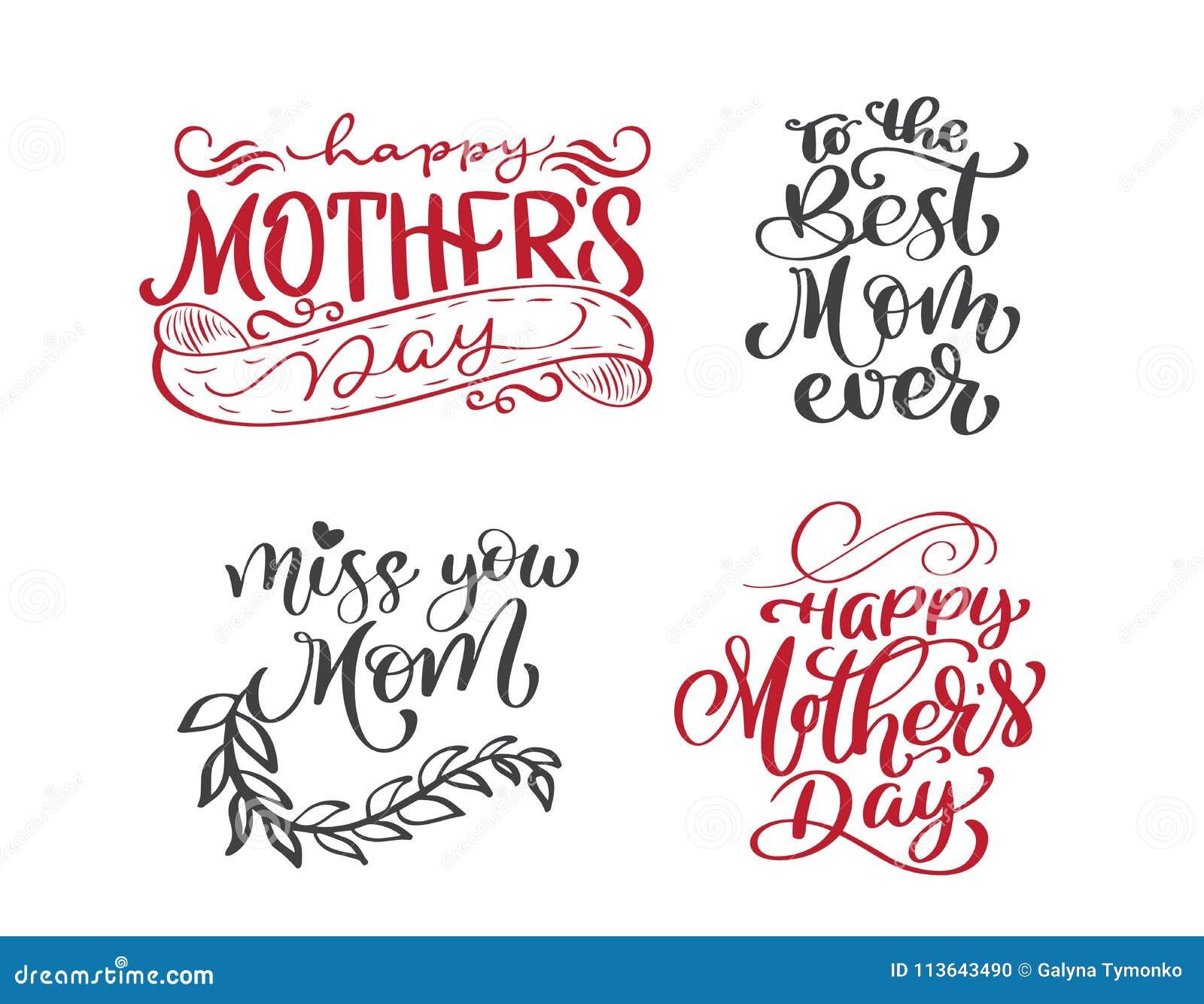 Glückliche zitiert Muttertagesgesetzte Hand gezeichnete Beschriftung Vektort-shirt oder -postkartendruckdesign, Hand gezeichneter