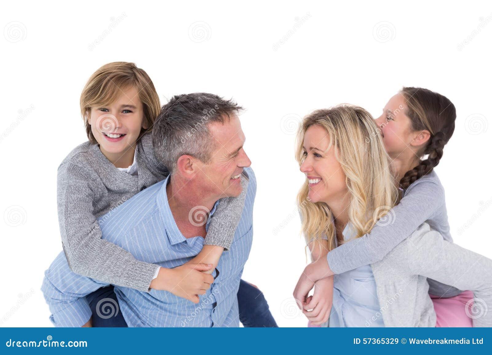 Glückliche Zwei Erziehen Das Geben Ihren Kindern Eines Doppelpol ...