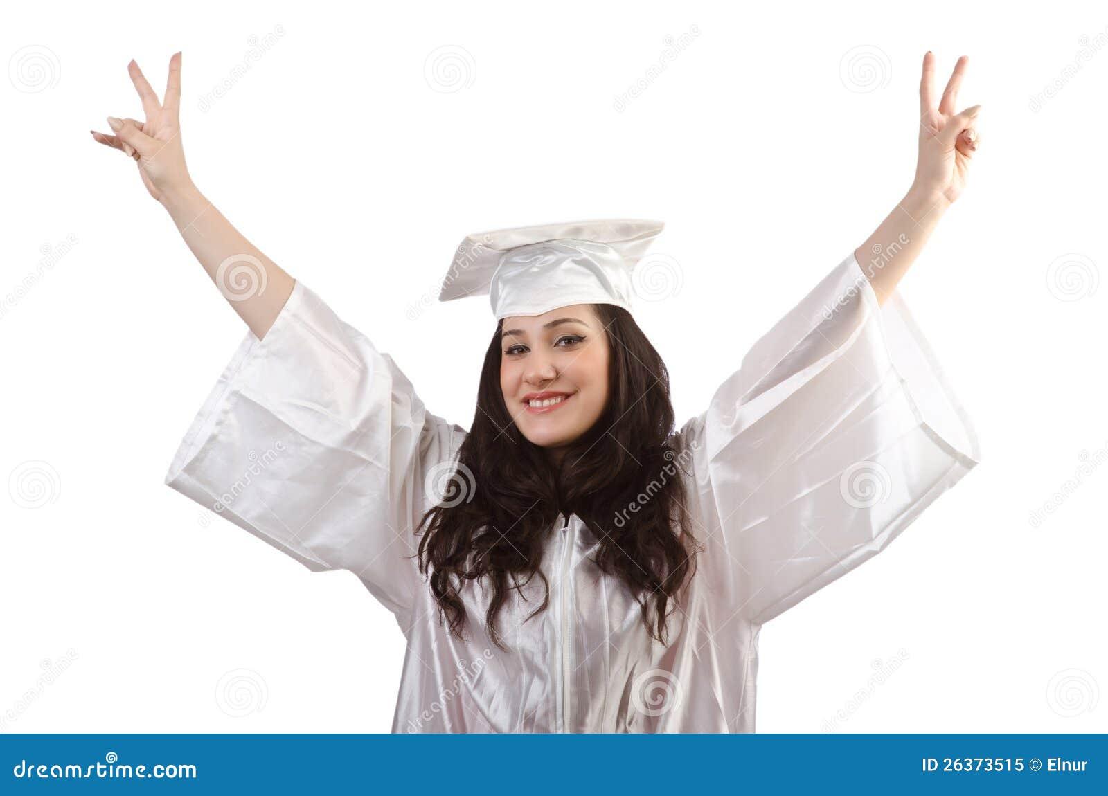 Glücklicher Absolvent auf Weiß