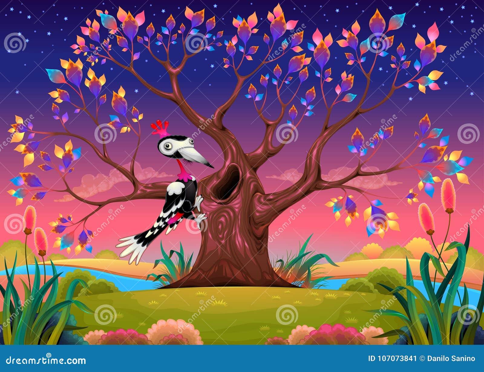 Glücklicher Baum in der Landschaft mit Specht