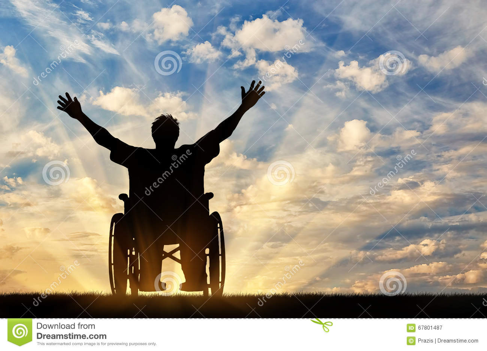 Glücklicher Behinderter des Schattenbildes