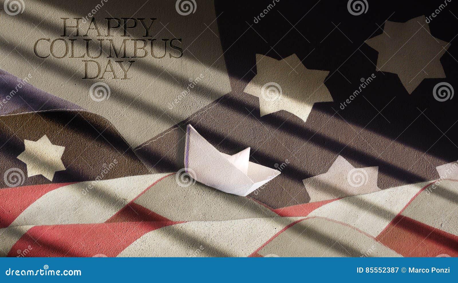 Glücklicher Columbus-Tag USA-Flaggen-Wellen