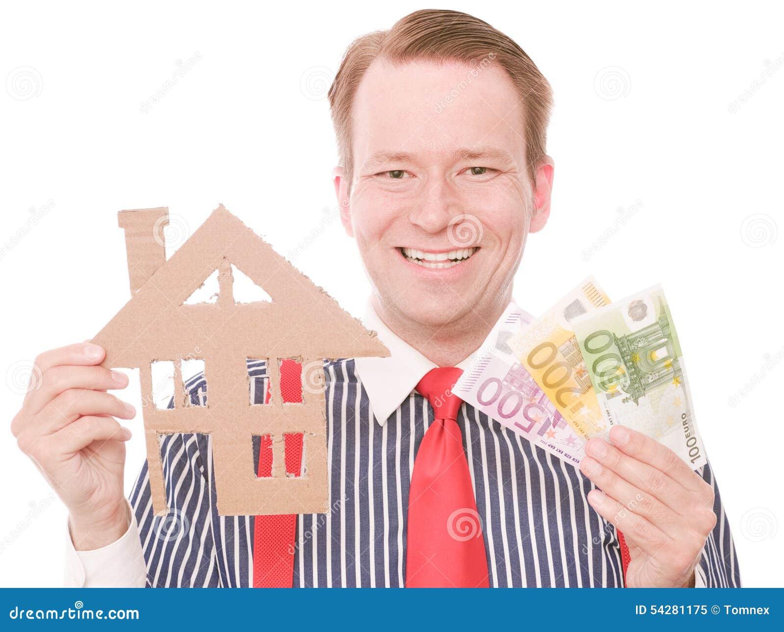 Glücklicher Geschäftshauseigentümer mit Geld