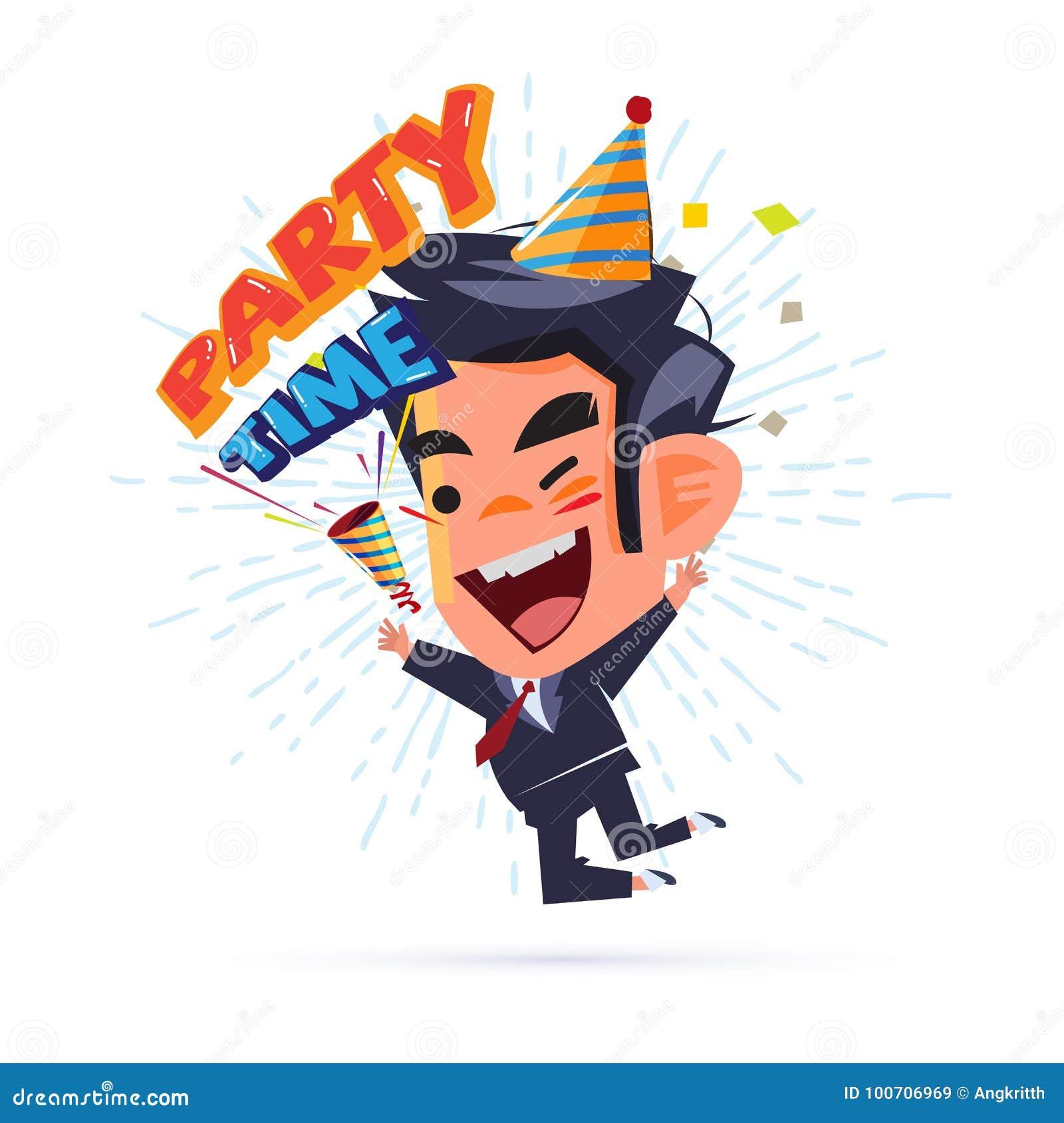 Glücklicher Geschäftsmann Happy und Springen mit ` Partei-Zeittext ` Parteipopkornmaschine Wochenendenpartei und erfolgreich -kon