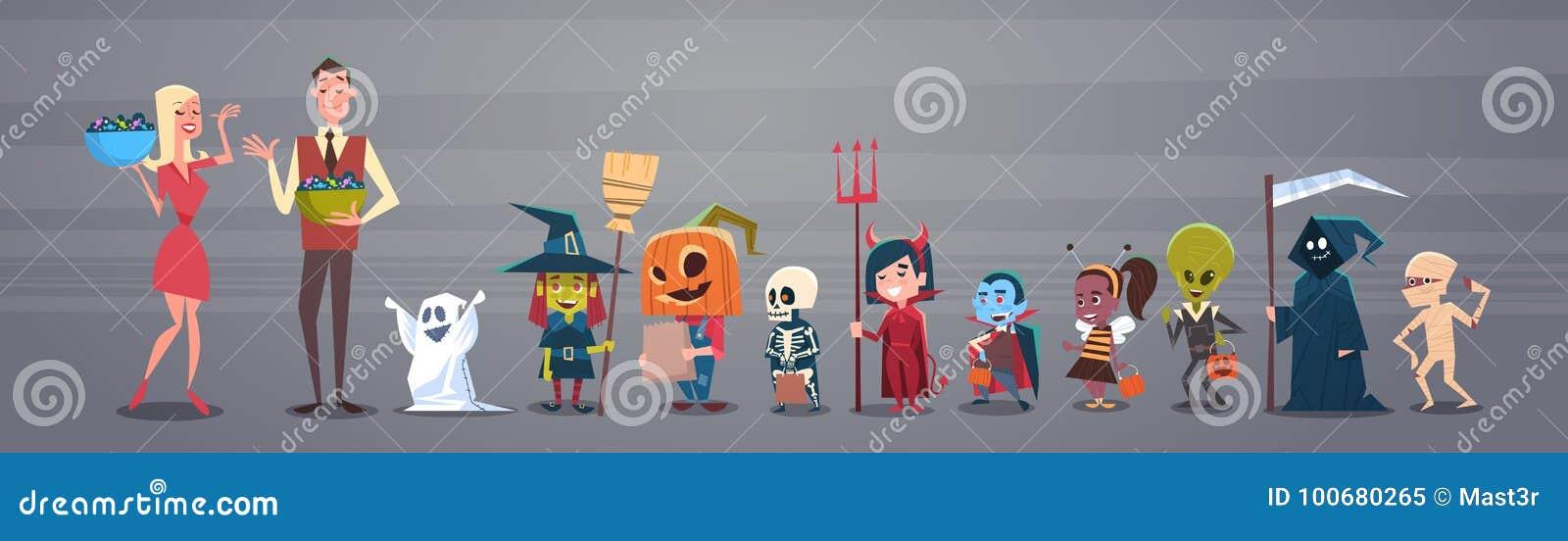 Glücklicher Halloween-Fahnen-Feiertags-Dekorations-Horror-Partei-Gruß-Karten-Mann und Frau, die den netten Karikatur-Monstern Süß