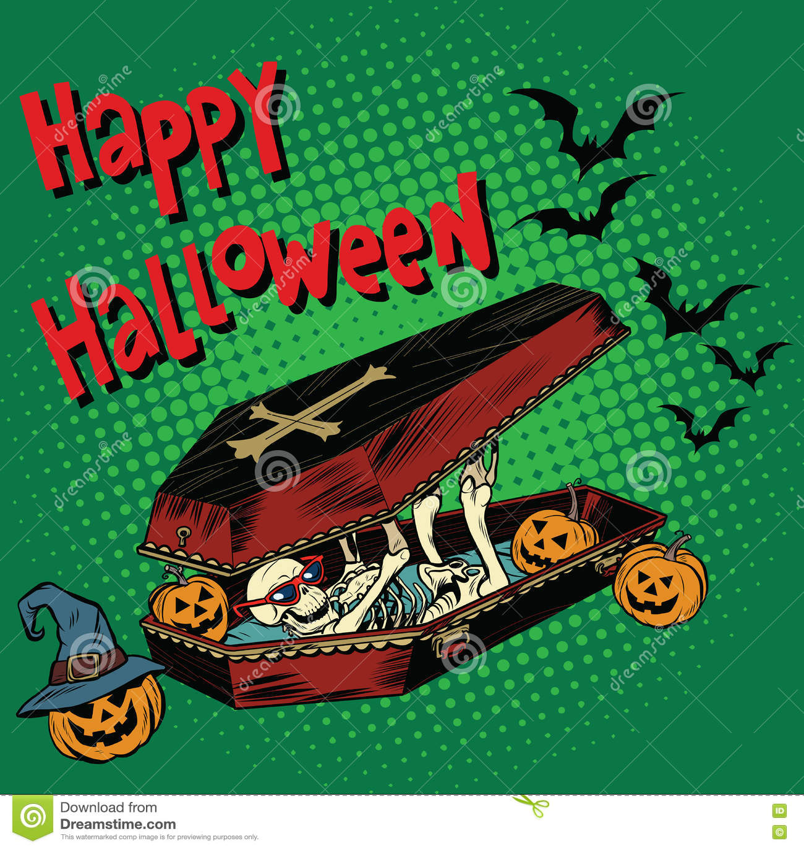 Glücklicher Halloween-Feiertag, skeleton schlechter Kürbis des Sarges