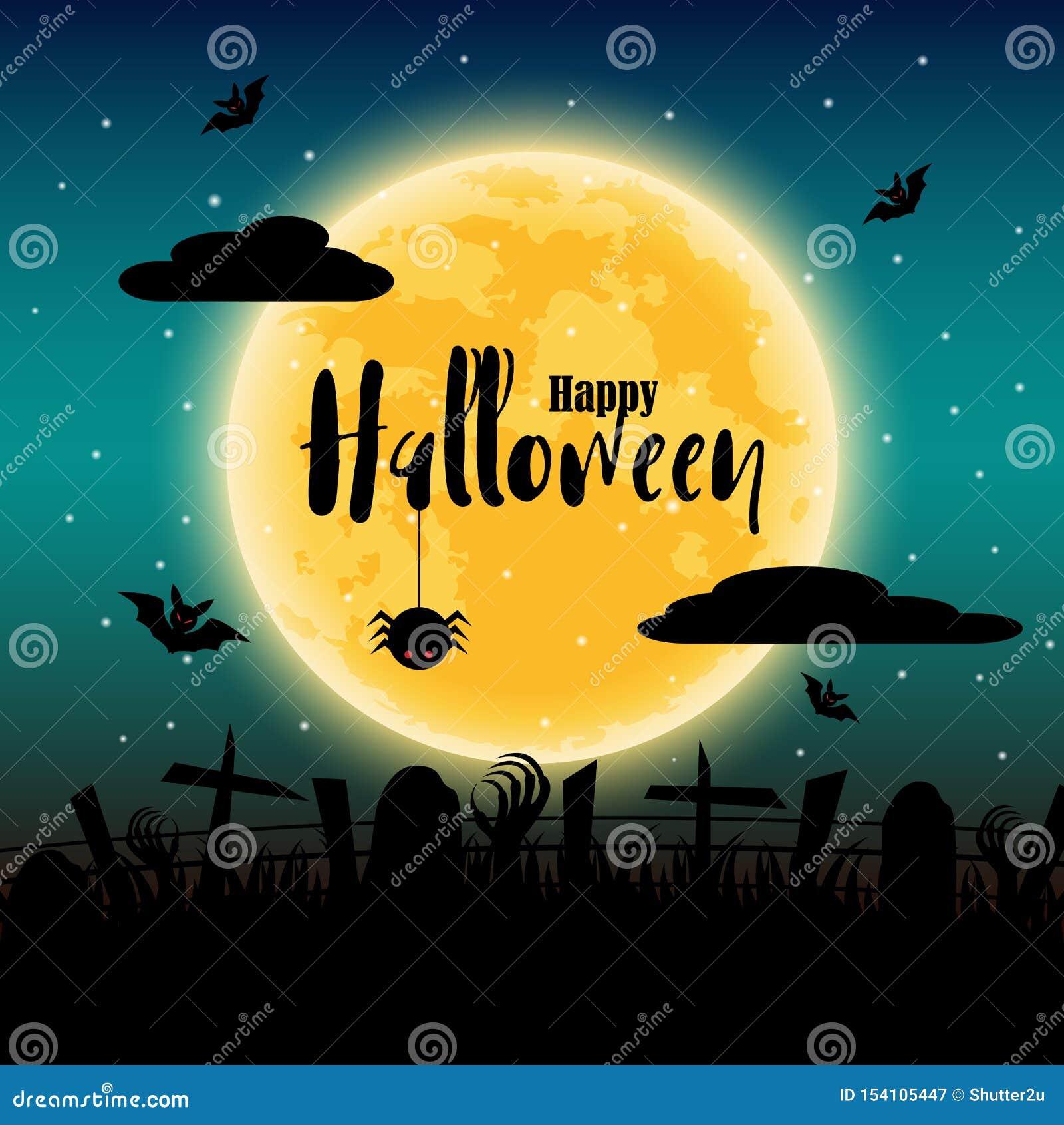 Glücklicher Halloween-Tag mit Vollmond im Hintergrund Schläger und Spinnen- und Leichenelemente Feiertag und Festivalkonzept Geis