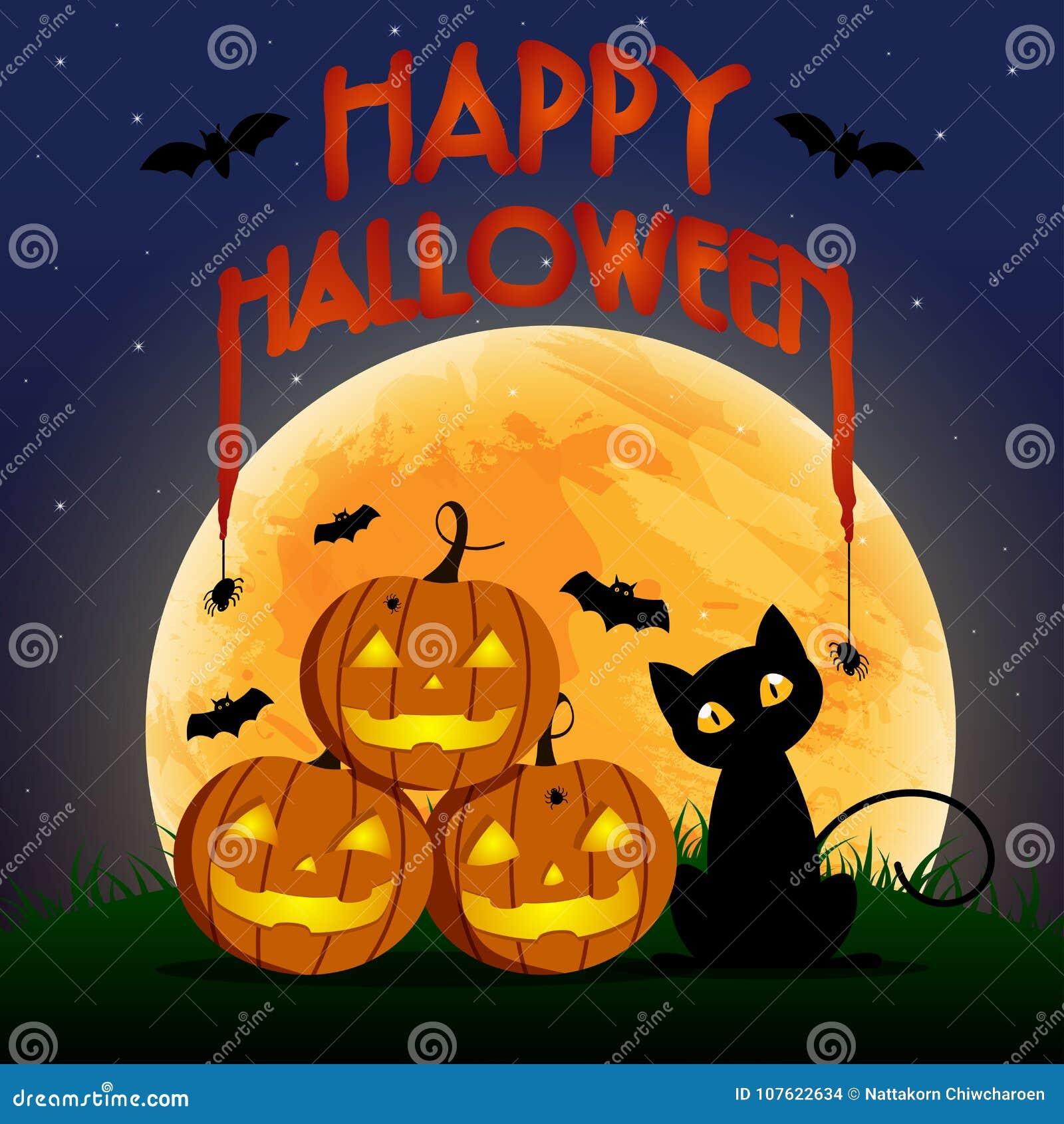 Glücklicher Halloween-Tag, -schläger und -spinne auf Text, der furchtsamen des netten Kürbislächelns gespenstische Partei aber ne