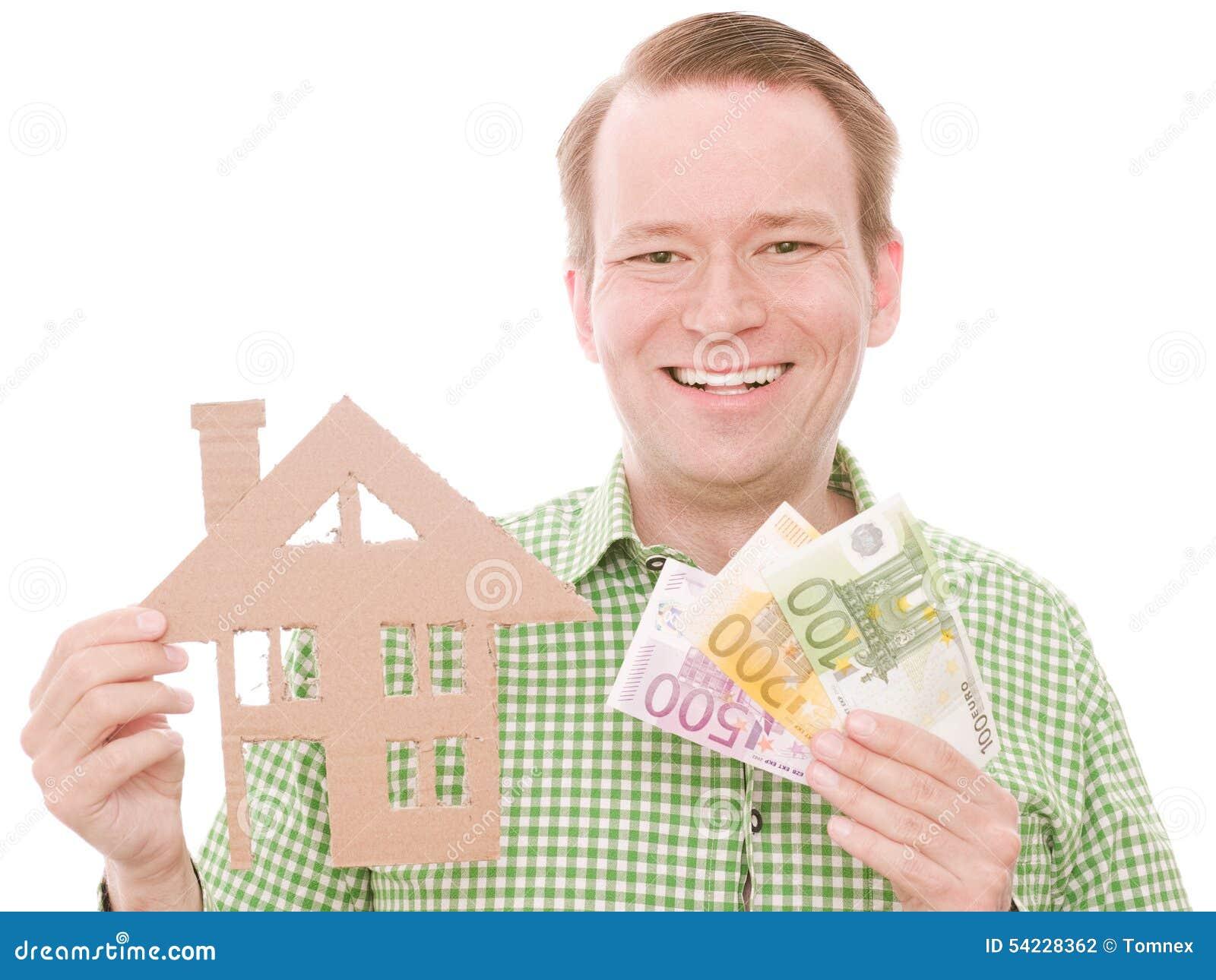 Glücklicher Hauseigentümer mit Geld