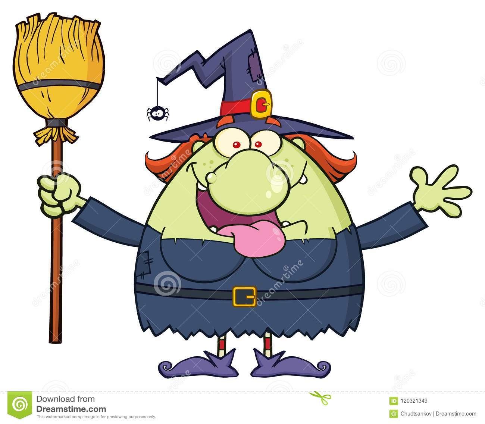 Glücklicher Hexen-Karikatur-Maskottchen-Charakter, der einen Besen hält