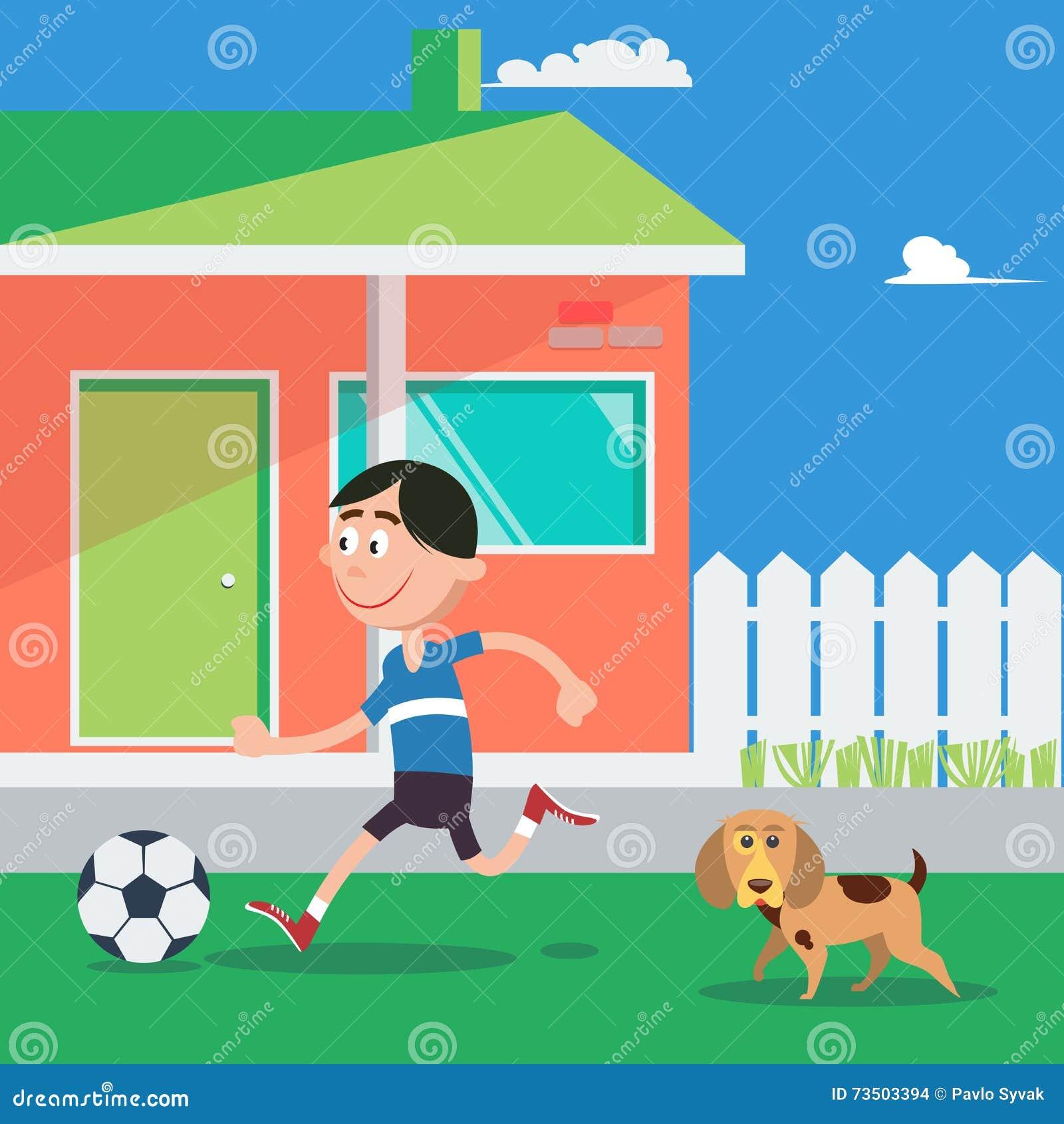 Glucklicher Junge Der Fussball Mit Hund Spielt Vektor