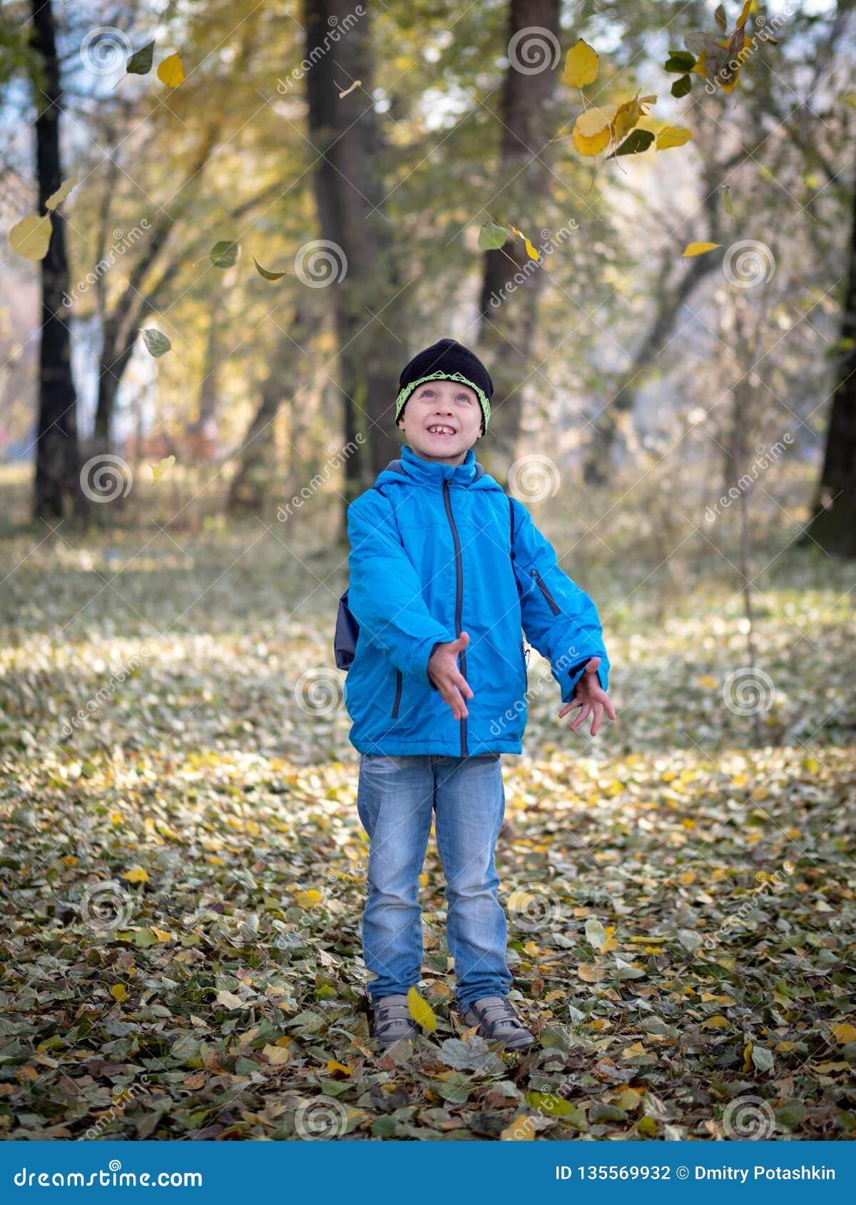 Glücklicher Junge wirft Blätter in Herbst Park