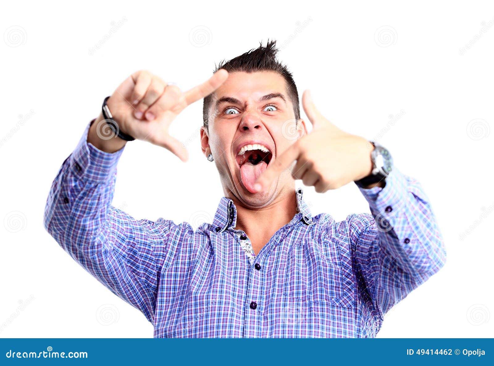Download Glücklicher Junger Mann, Der Ein Selfie Foto Macht Stockfoto - Bild von schauen, hintergrund: 49414462