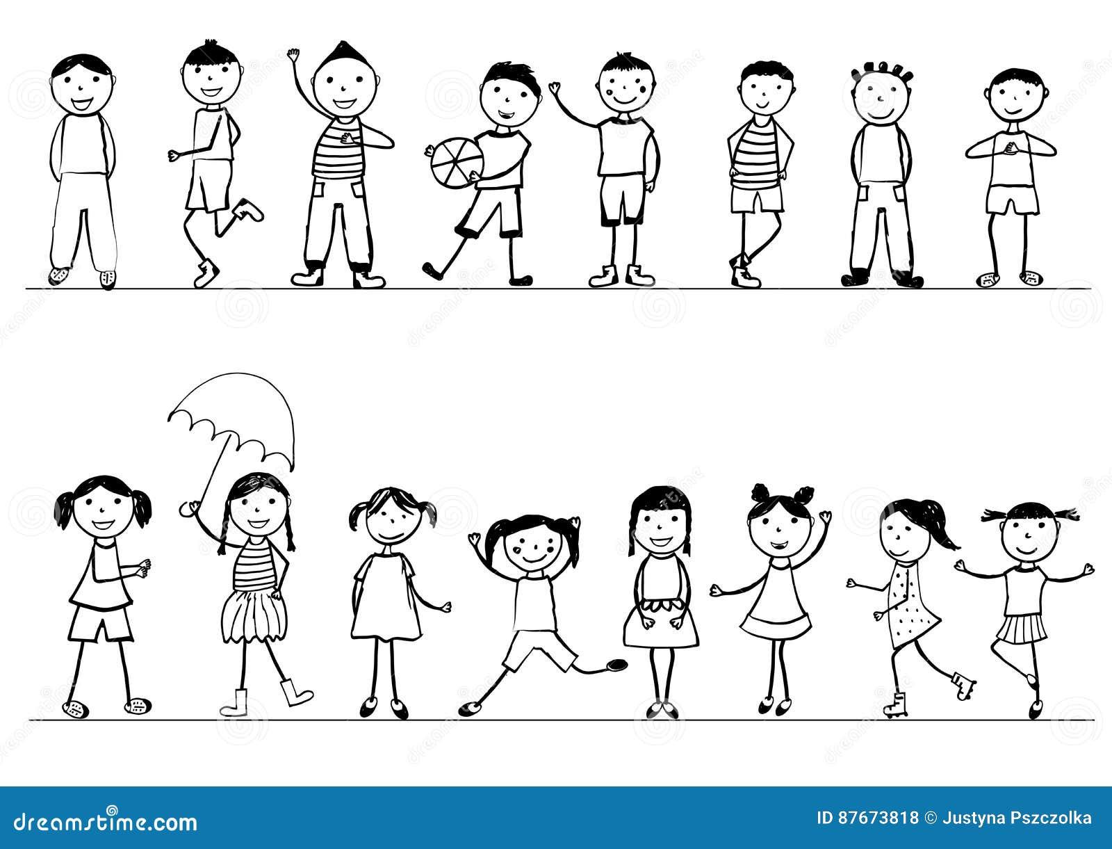 Glucklicher Kinder Schwarzweiss Hand Gezeichnet Vektor Abbildung