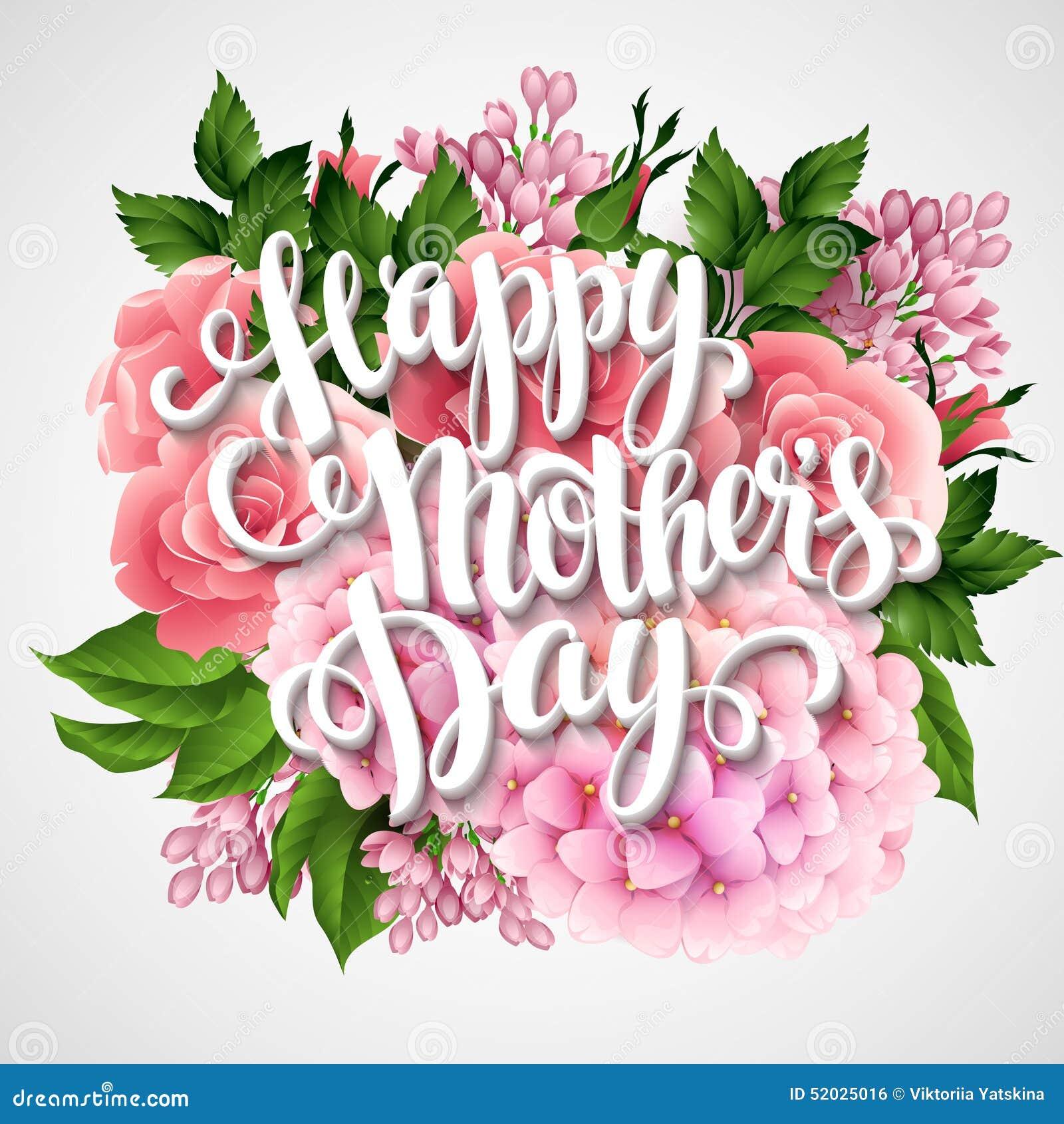 Glücklicher Muttertag Karte Mit Schönen Blumen Vektor Abbildung ...