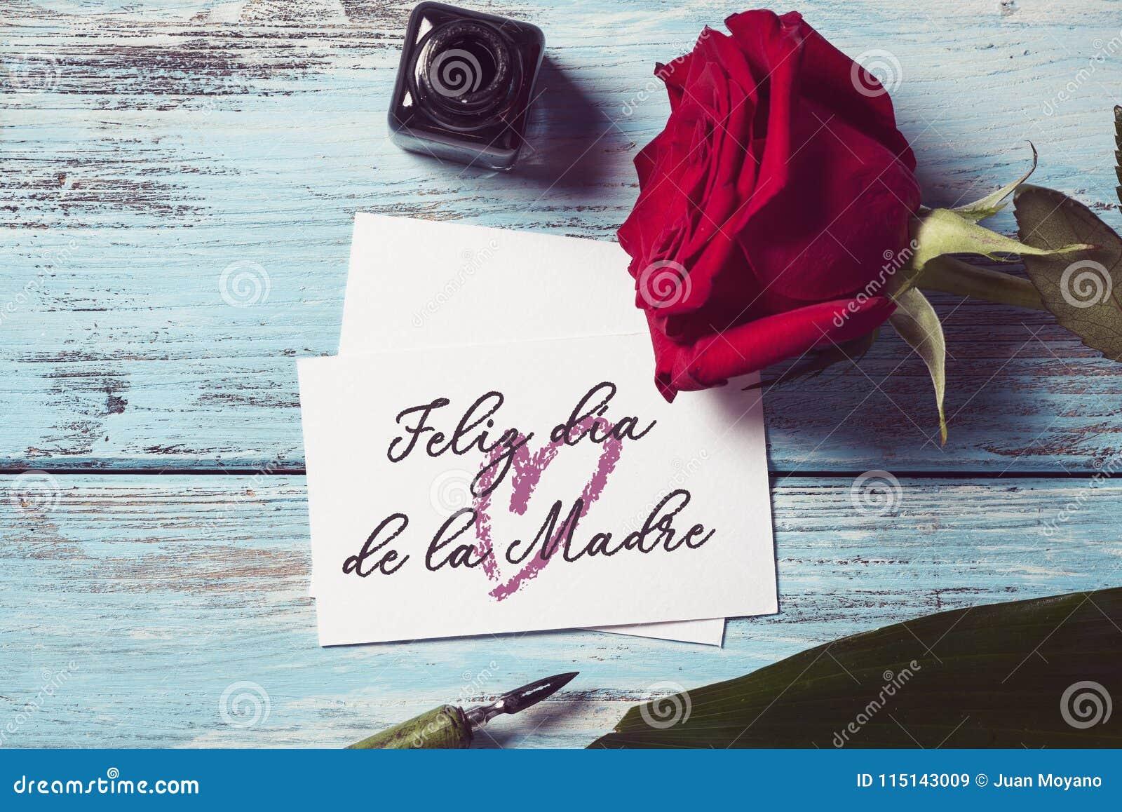 Glücklicher Muttertag Rose und des Textes auf spanisch