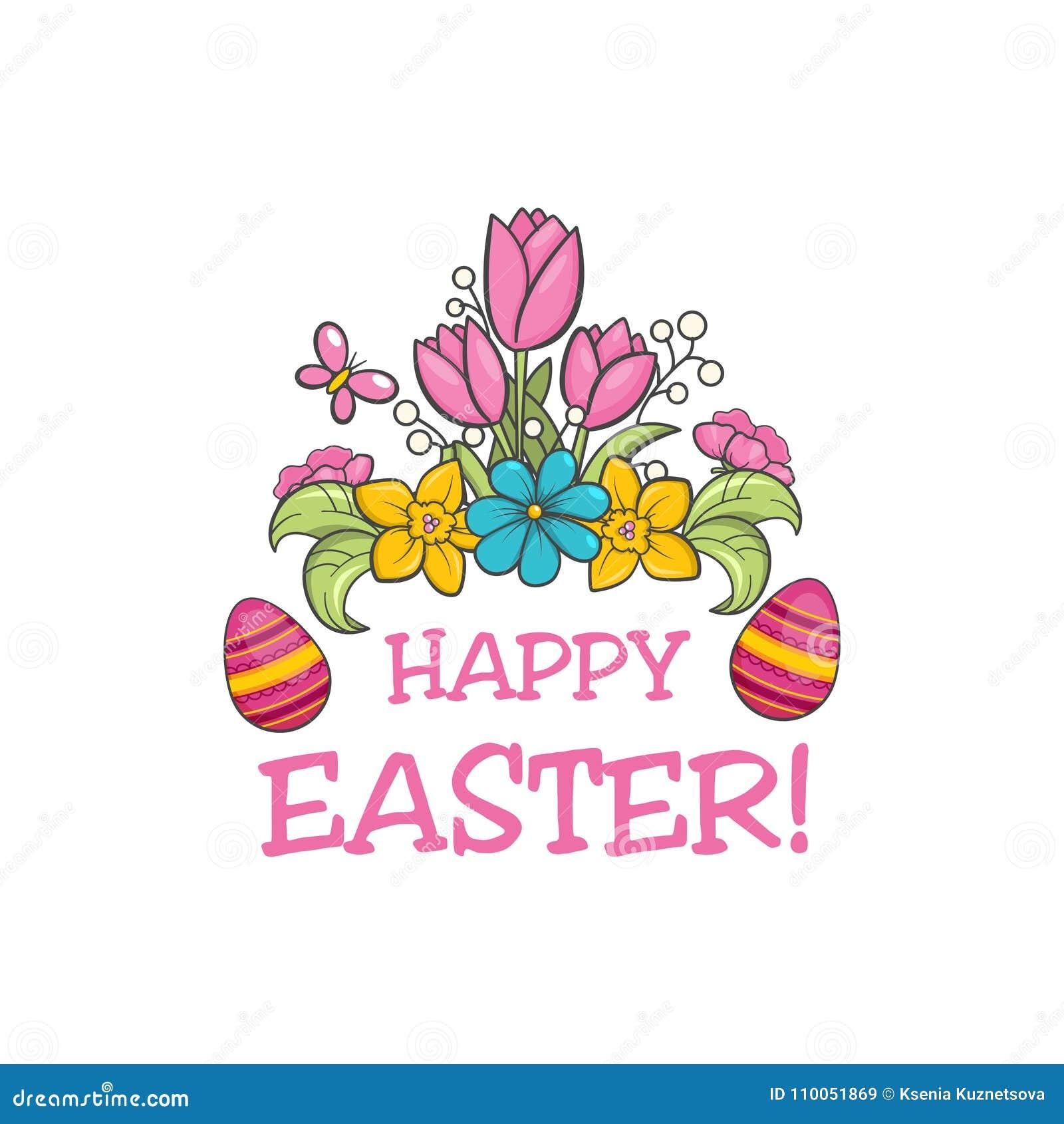 Glücklicher Ostern-Slogan vektor abbildung. Illustration von ...