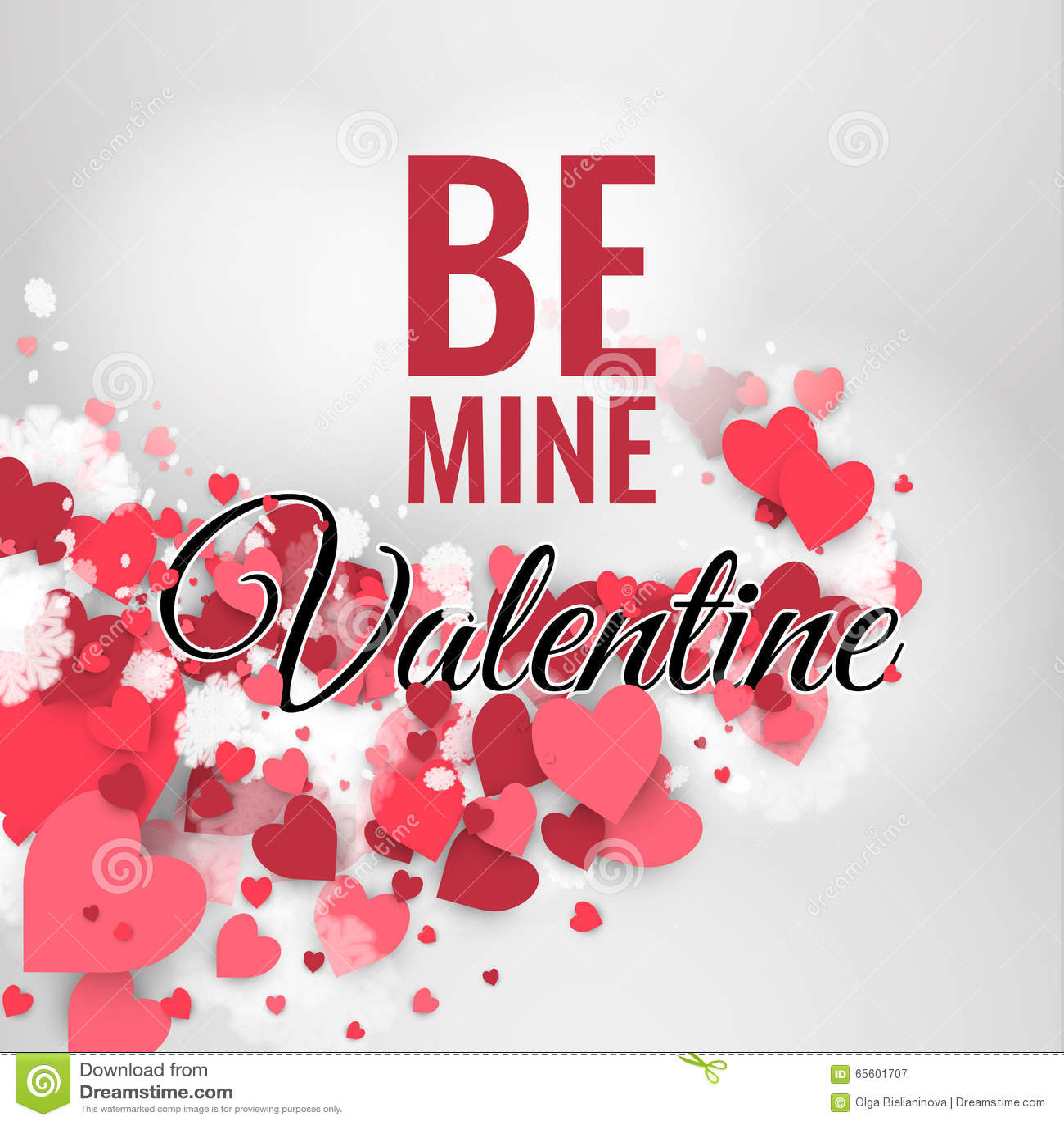 Glücklicher St. Valentinstag! Abstrakter Hintergrund Mit Band Und  Fliegenschneeflocken Und  Herzen Zum Tag Von St. Valentinsgruß