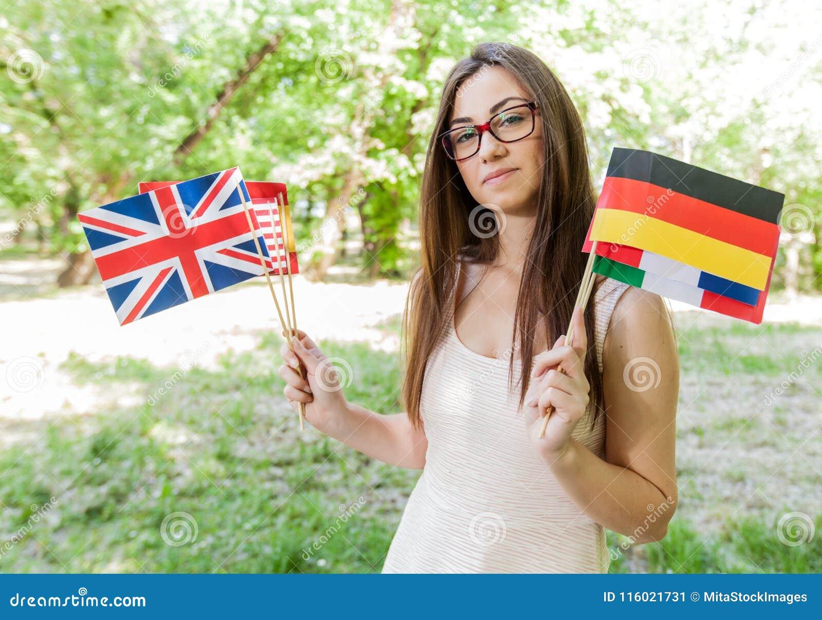 Glücklicher Student Learning Languages