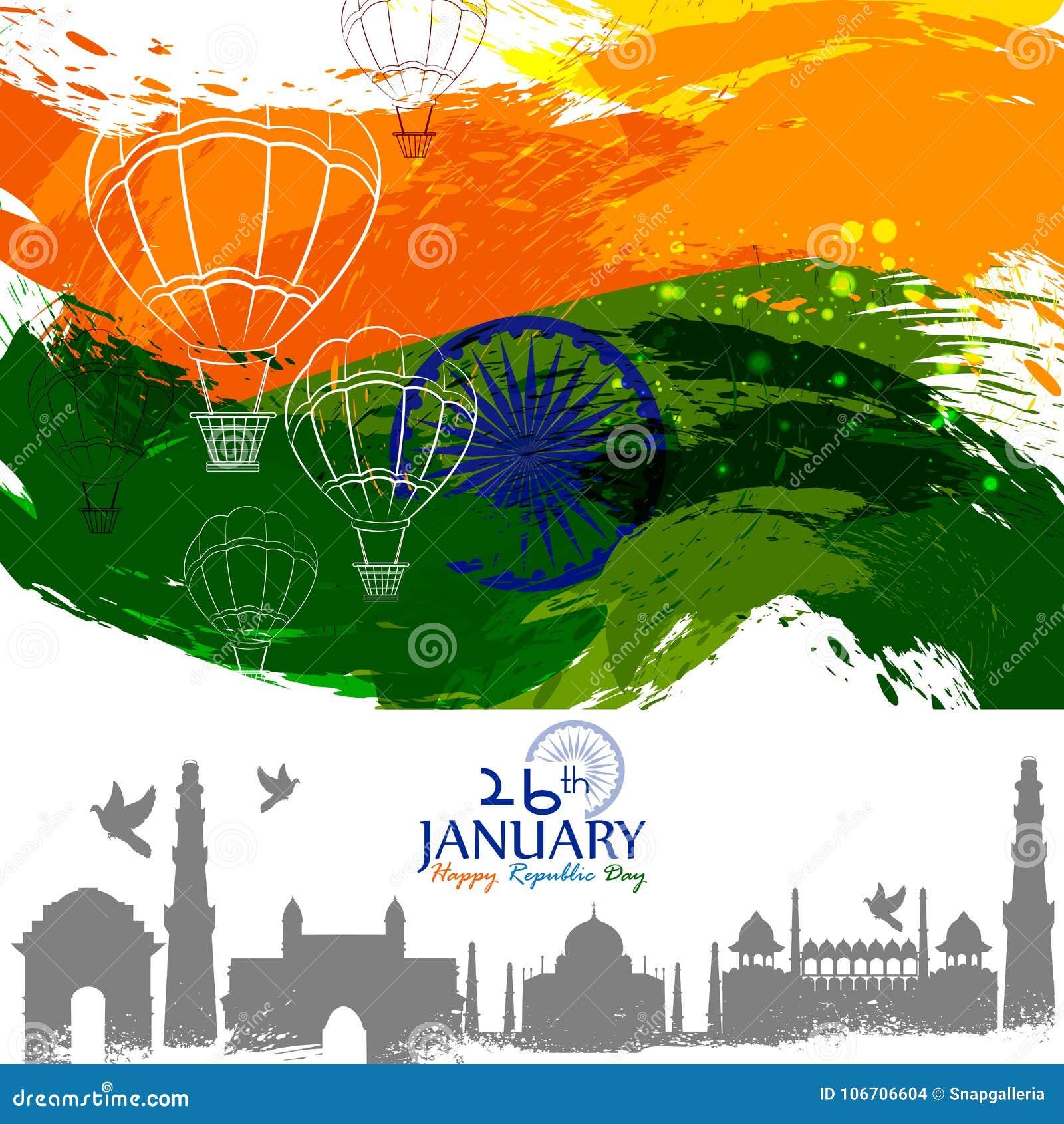 Glücklicher Tag der Republik dreifarbigen Hintergrundes Indiens für den 26. Januar