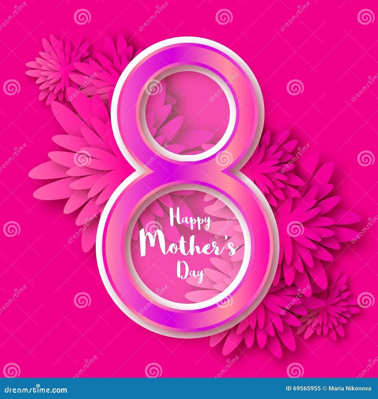 Glücklicher Tag Des Mutter Rosa Blumengrußkarte Tag Der ...
