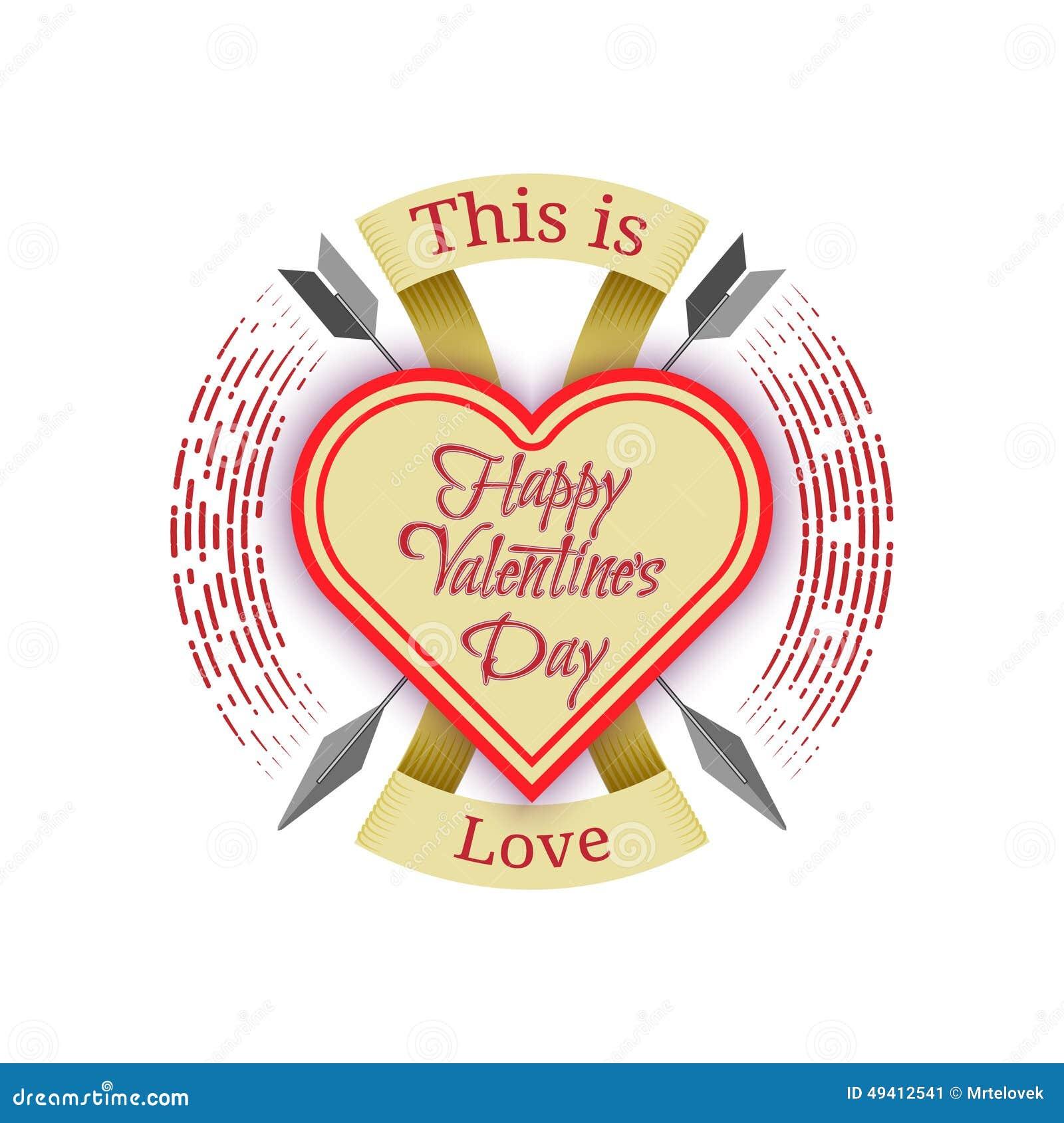 Download Glücklicher Valentinstag-Aufkleber Vektor Abbildung - Illustration von kennsatz, pfeil: 49412541