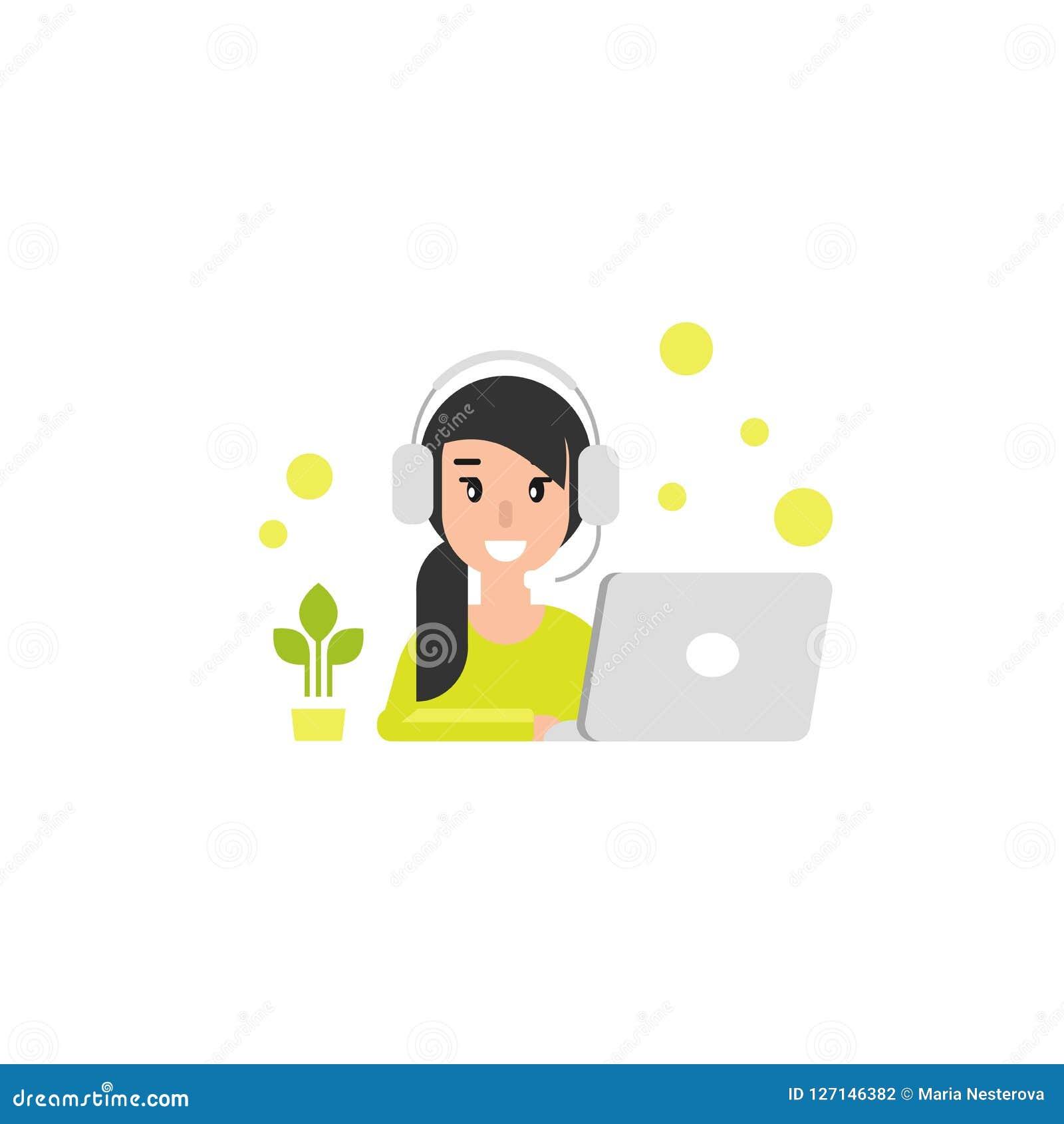 Glückliches Betreibermädchen mit Computer, Kopfhörern und Mikrofon Flache Vektorillustration