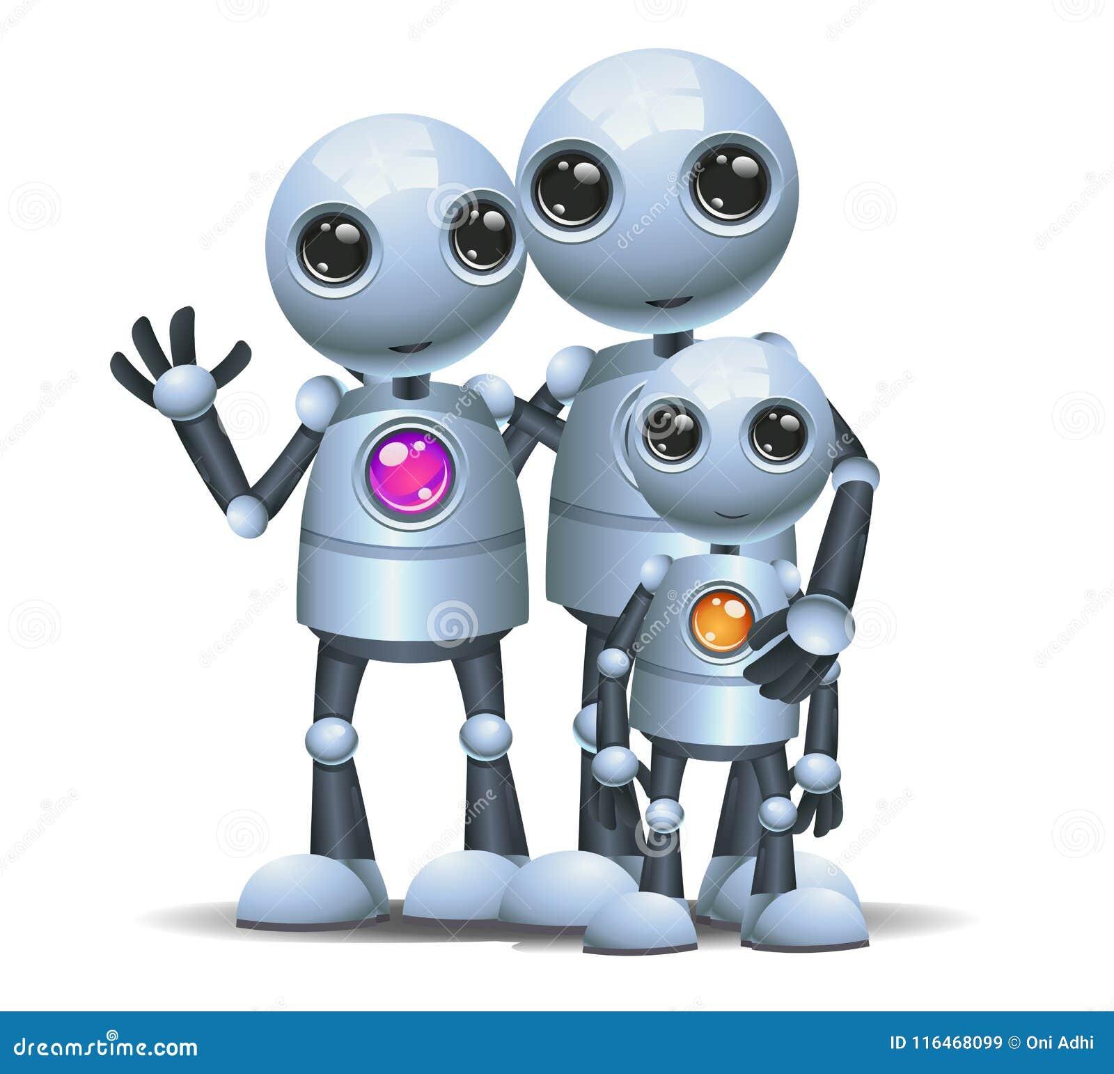 Glückliches droid wenig Roboterfamilie auf lokalisiertem Weiß