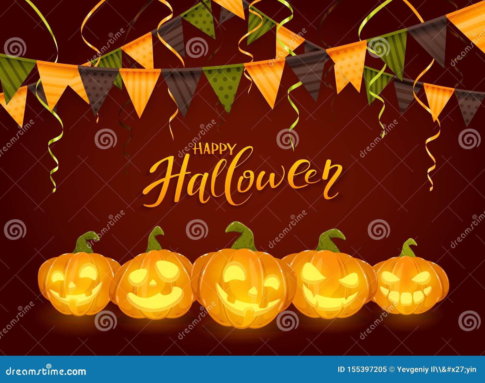 Glückliches Halloween mit Kürbisen und Wimpeln