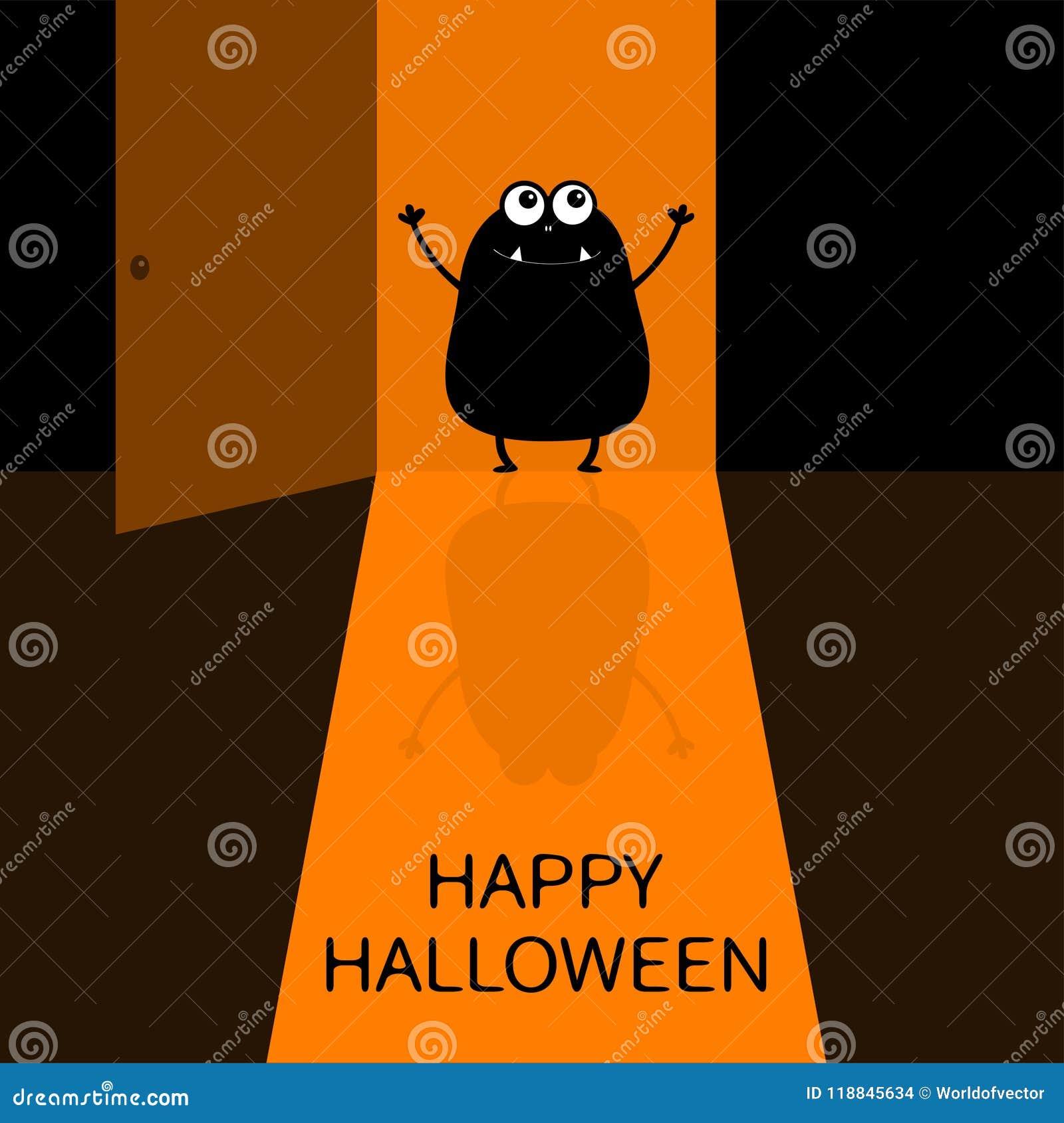 Glückliches Halloween Schreiendes Monsterschattenbild Das Am