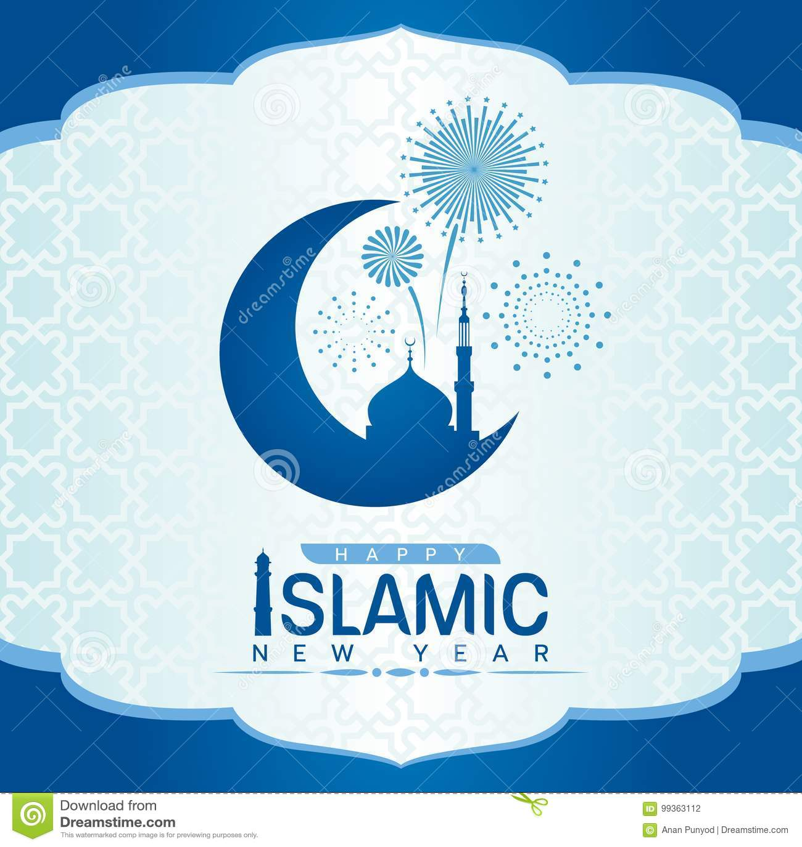 Glückliches Islamisches Neues Jahr Mit Moschee Auf Sichelförmigem ...