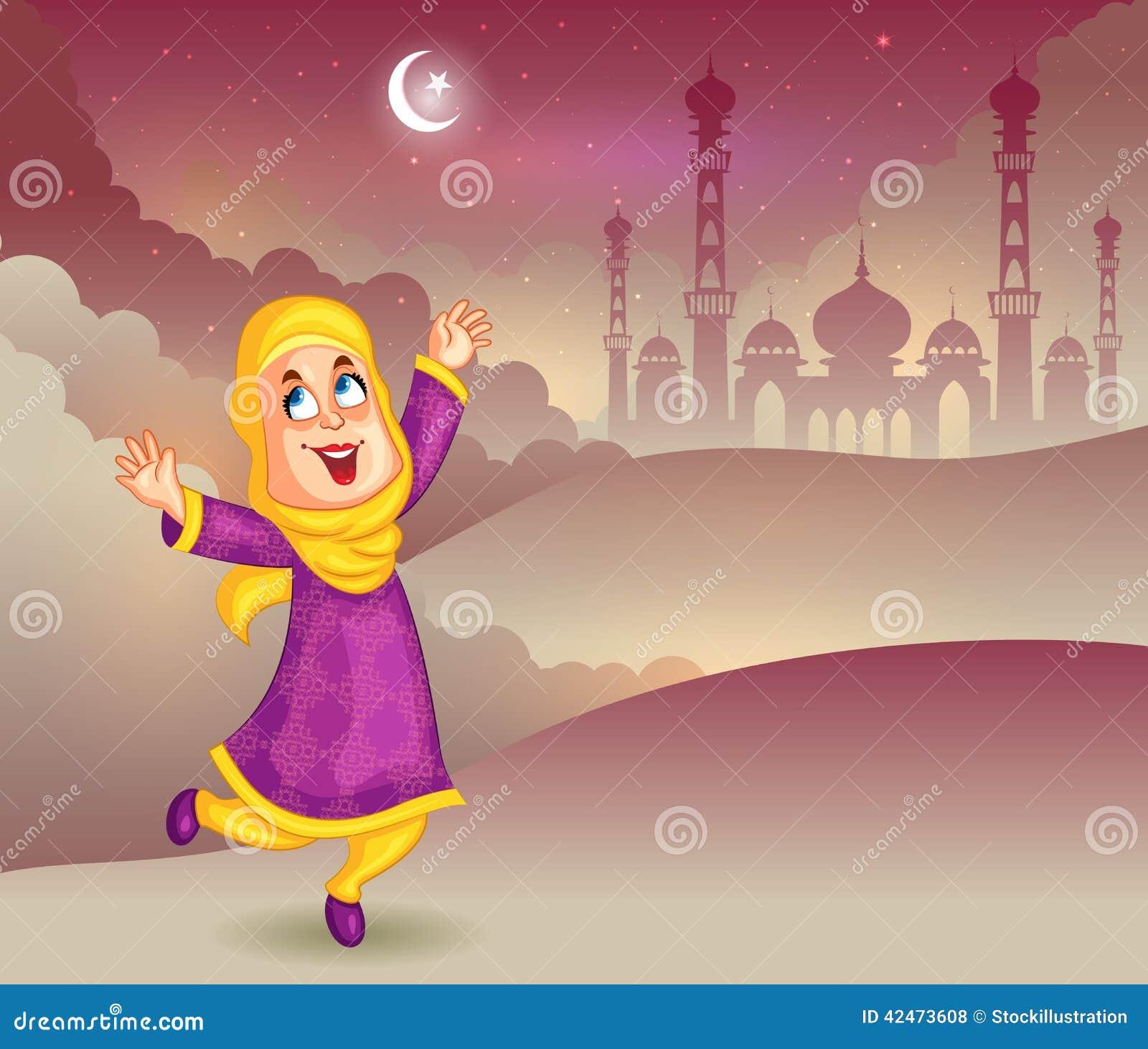 Glückliches moslemisches Mädchen, das Eid Mubarak wünscht