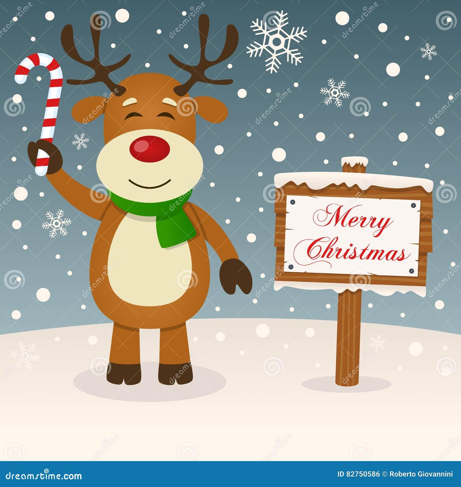 Glückliches Ren-u. frohe Weihnacht-Zeichen
