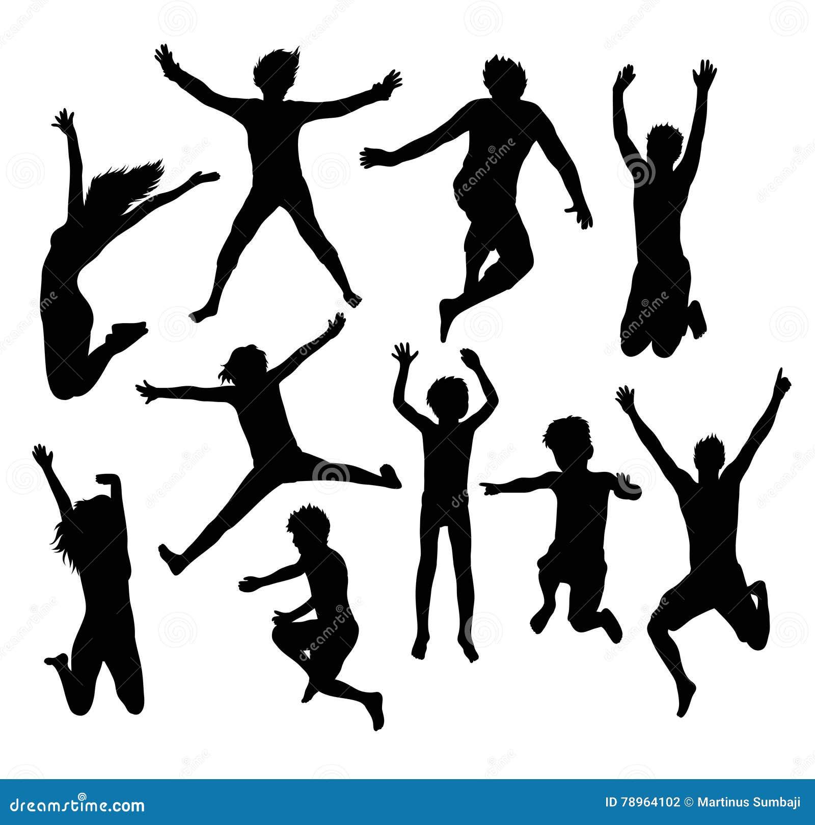 Glückliches springendes Familien-und Freund Schattenbild