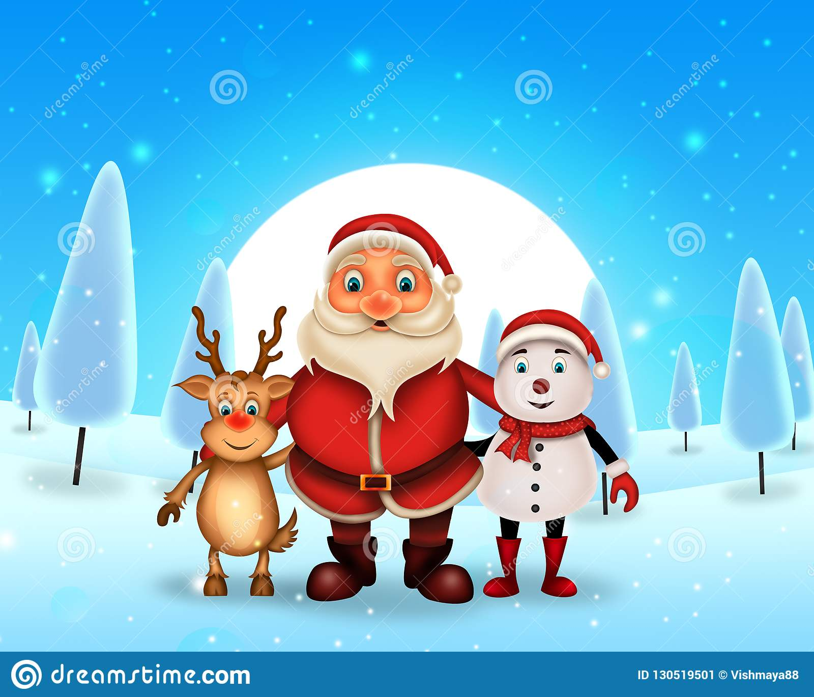 Glückliches Weihnachten der frohen Weihnachten, Sankt mit rendeer