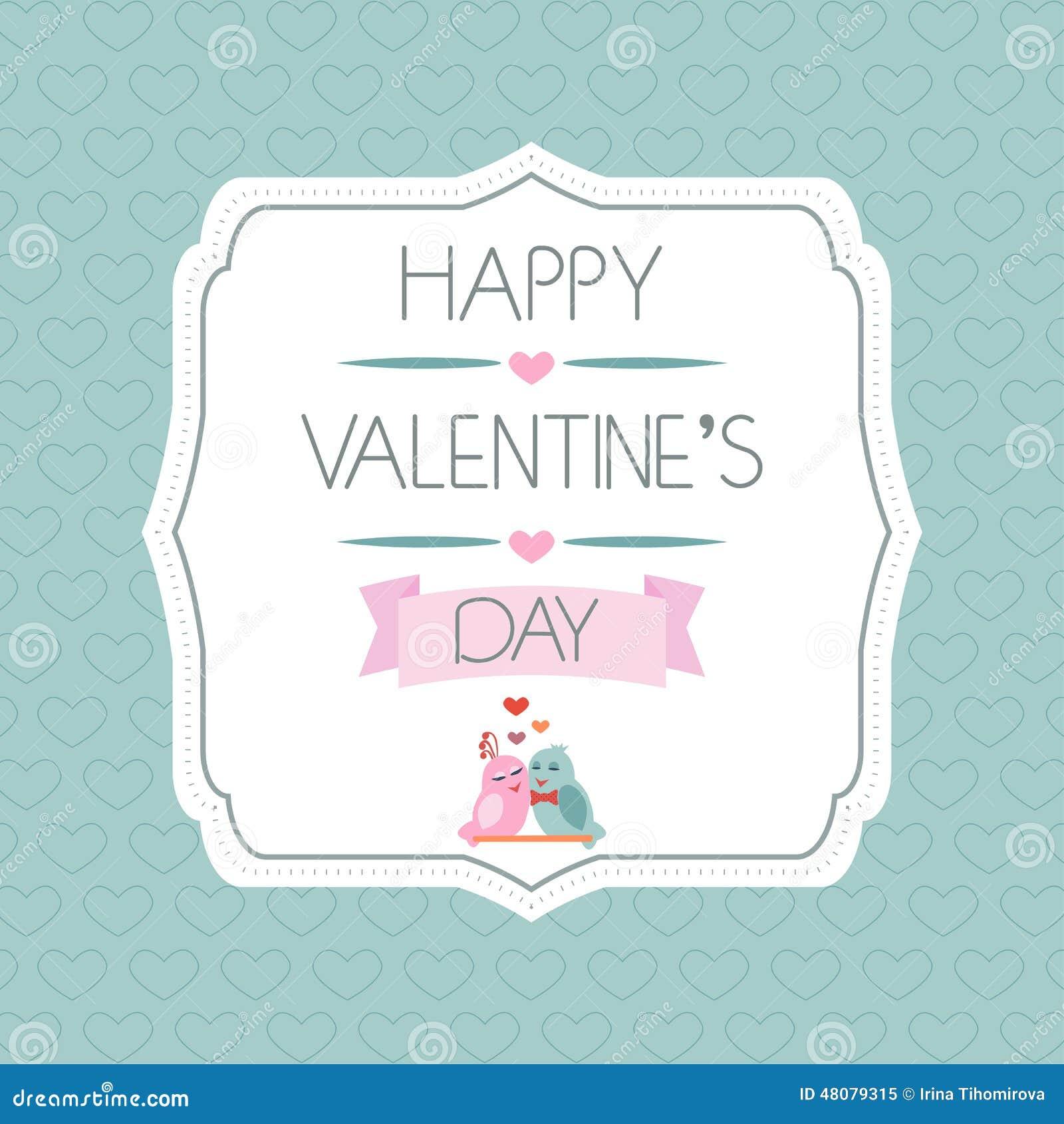 Glückwünsche Zum Valentinstag Kennsatz Vögel Farbband Typographie Vektor