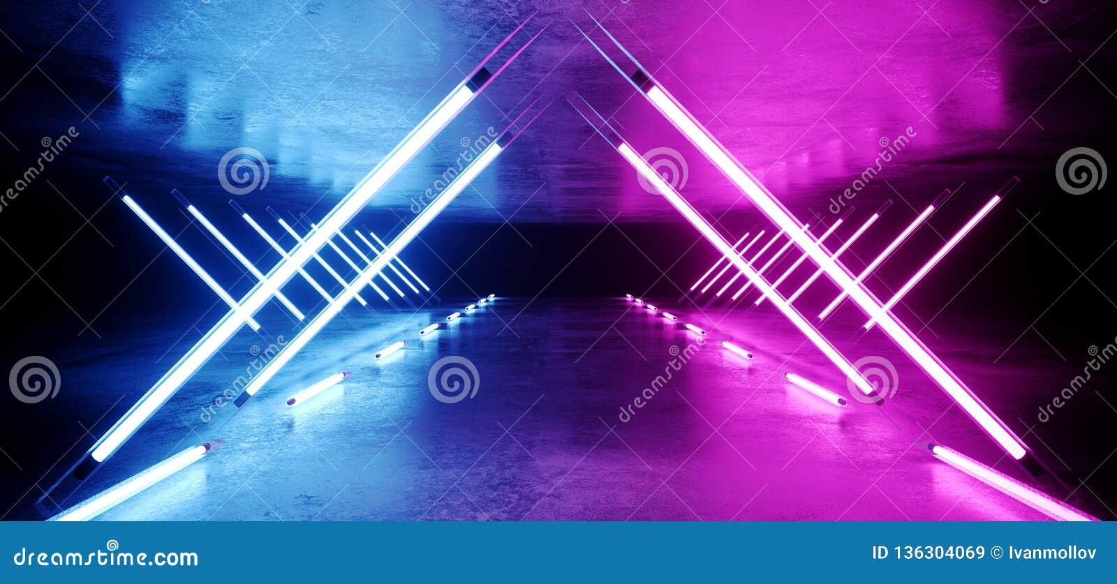 Glühende futuristisches modernes elegantes ultraviolettes Stadiums-lange Tunnel-Neonstraße Dreieck geformtes Sci FI mit den purpu
