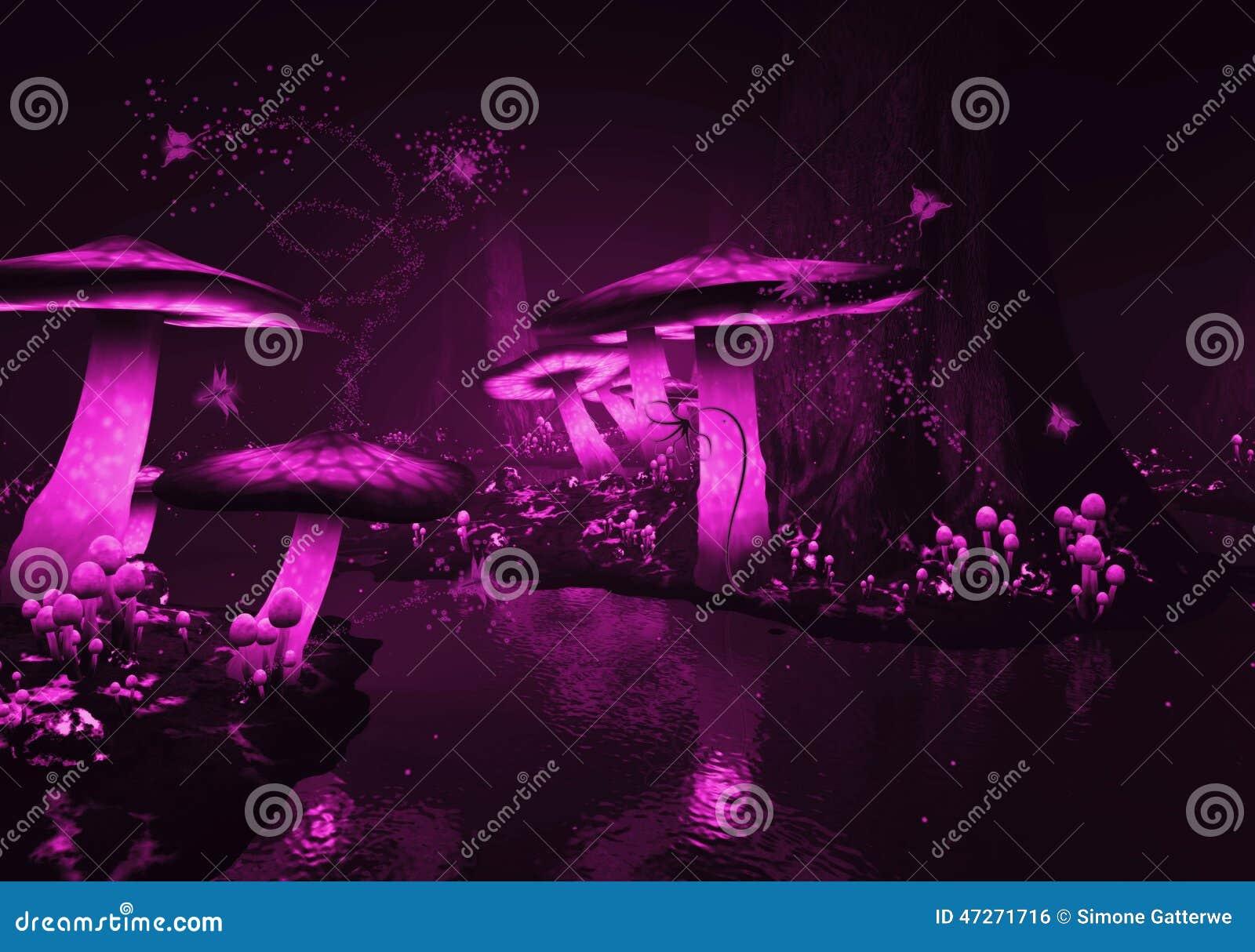 Glühende purpurrote Pilze