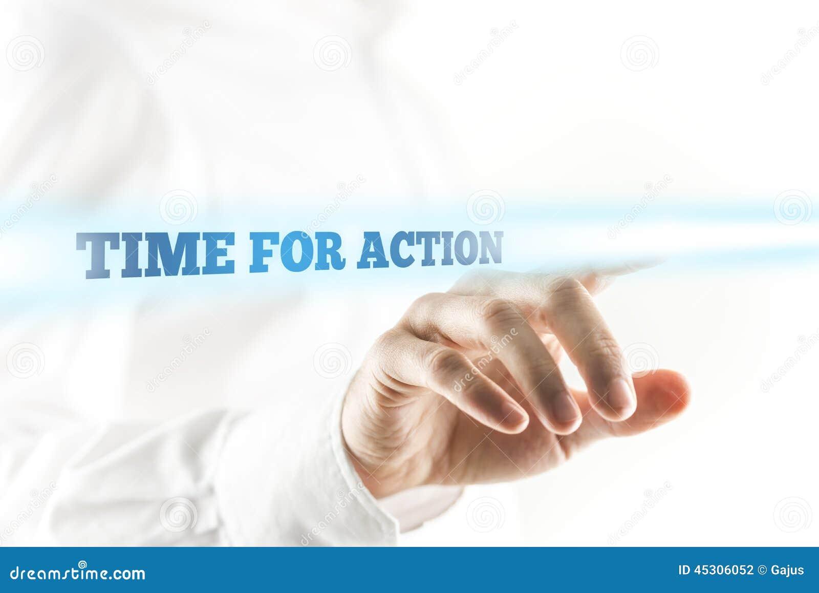 Glühende Zeit für Aktions-Texte über menschlicher Hand