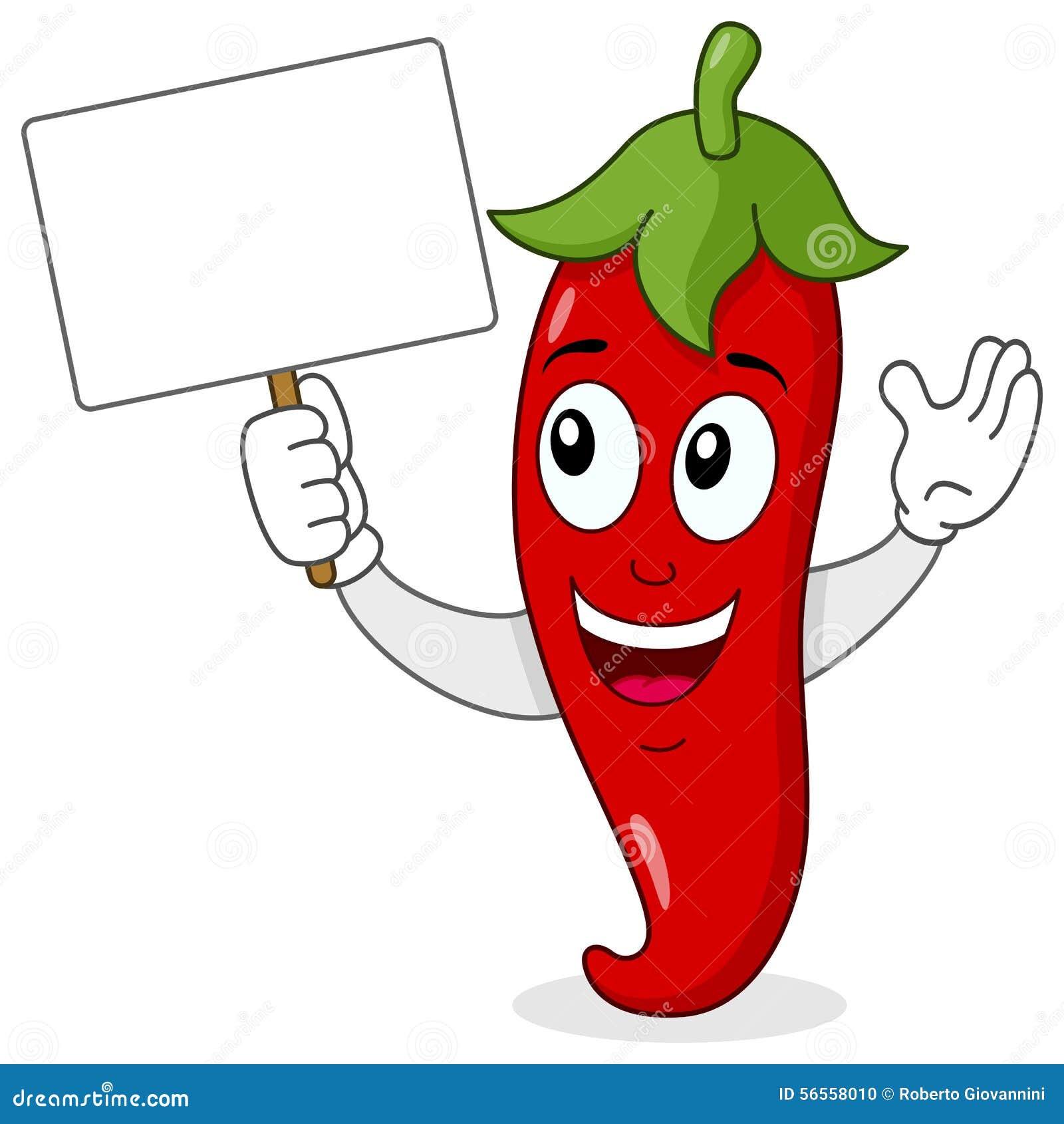 Glühender Chili Pepper mit leerer Fahne