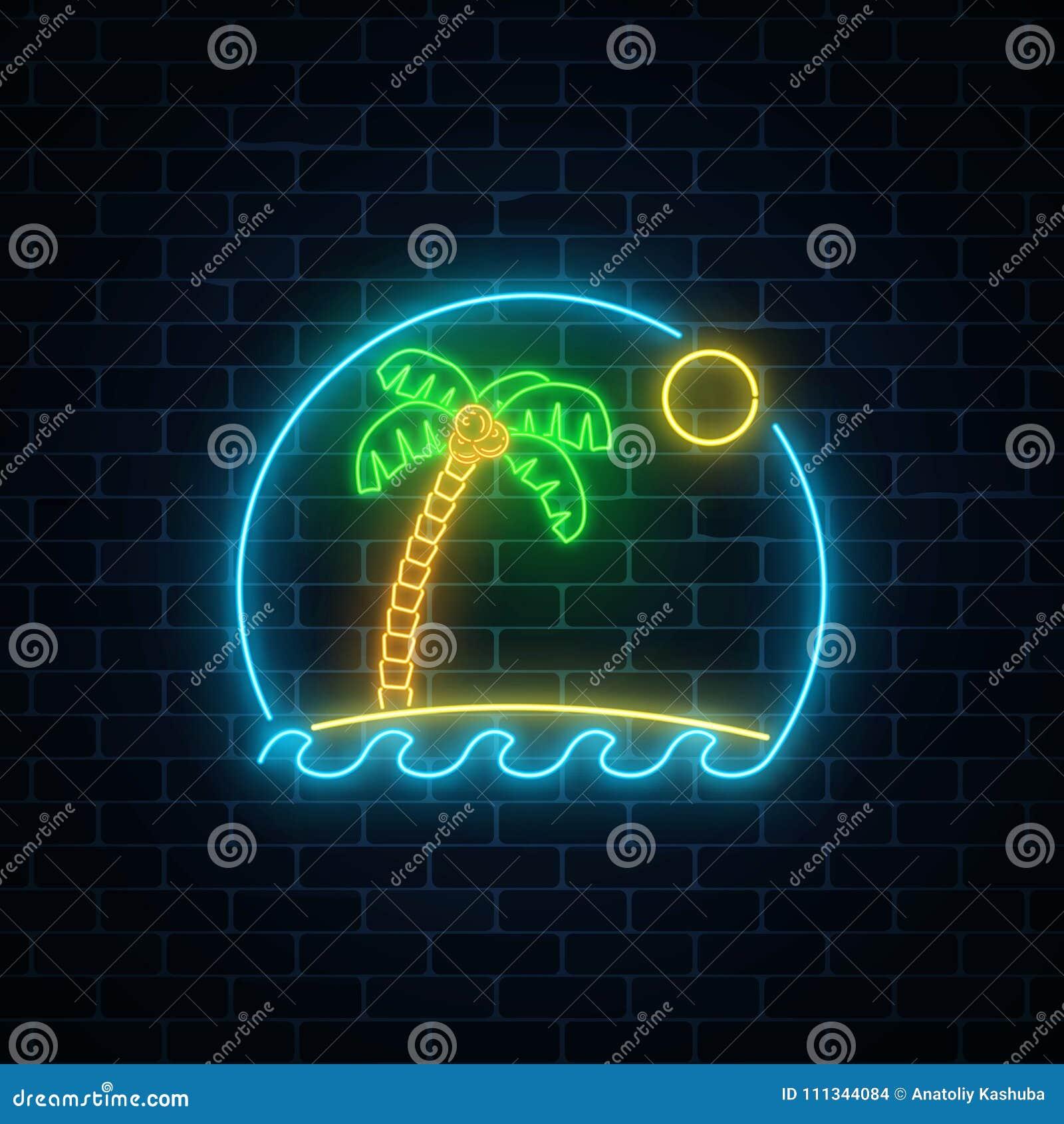 Glühender Neonsommer Unterzeichnen Mit Palme, Sonne, Insel Und Ozean ...