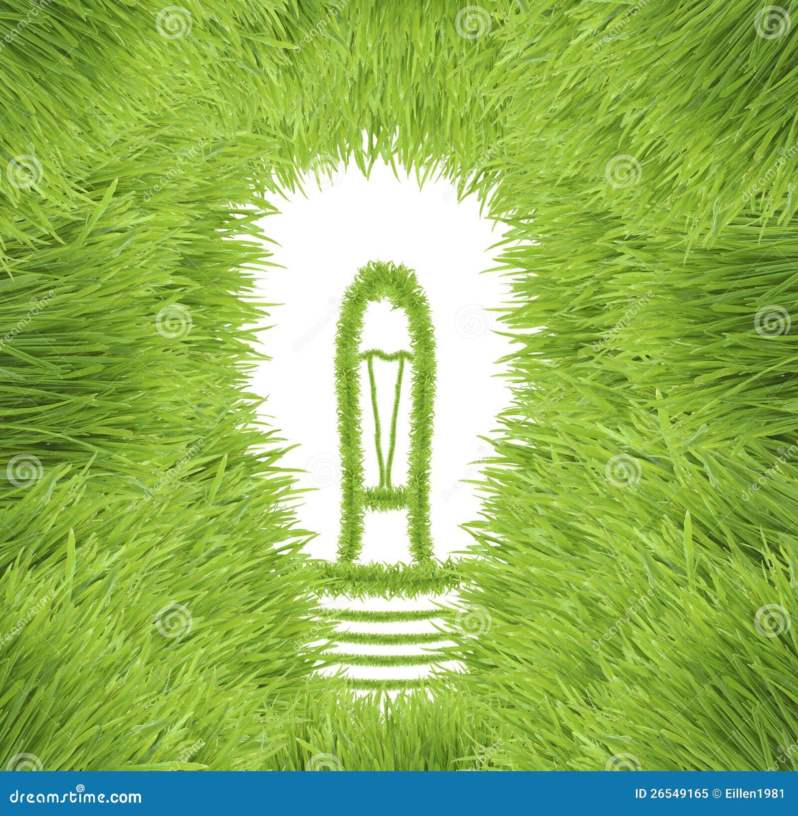 Glühlampe gebildet vom grünen Gras