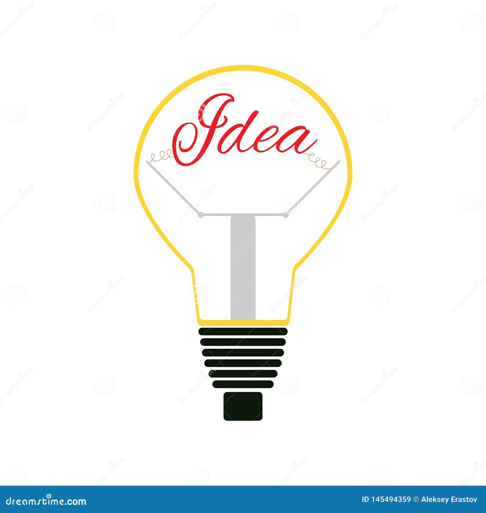 Gl?hlampe mit Text Idee Lokalisierte Ikone, Logo, Symbol Auch im corel abgehobenen Betrag