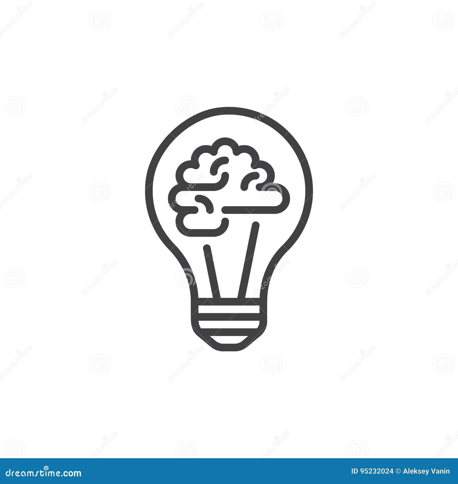 Glühlampe und Gehirn zeichnen Ikone, Entwurfsvektorzeichen, das lineare Artpiktogramm, das auf Weiß lokalisiert wird