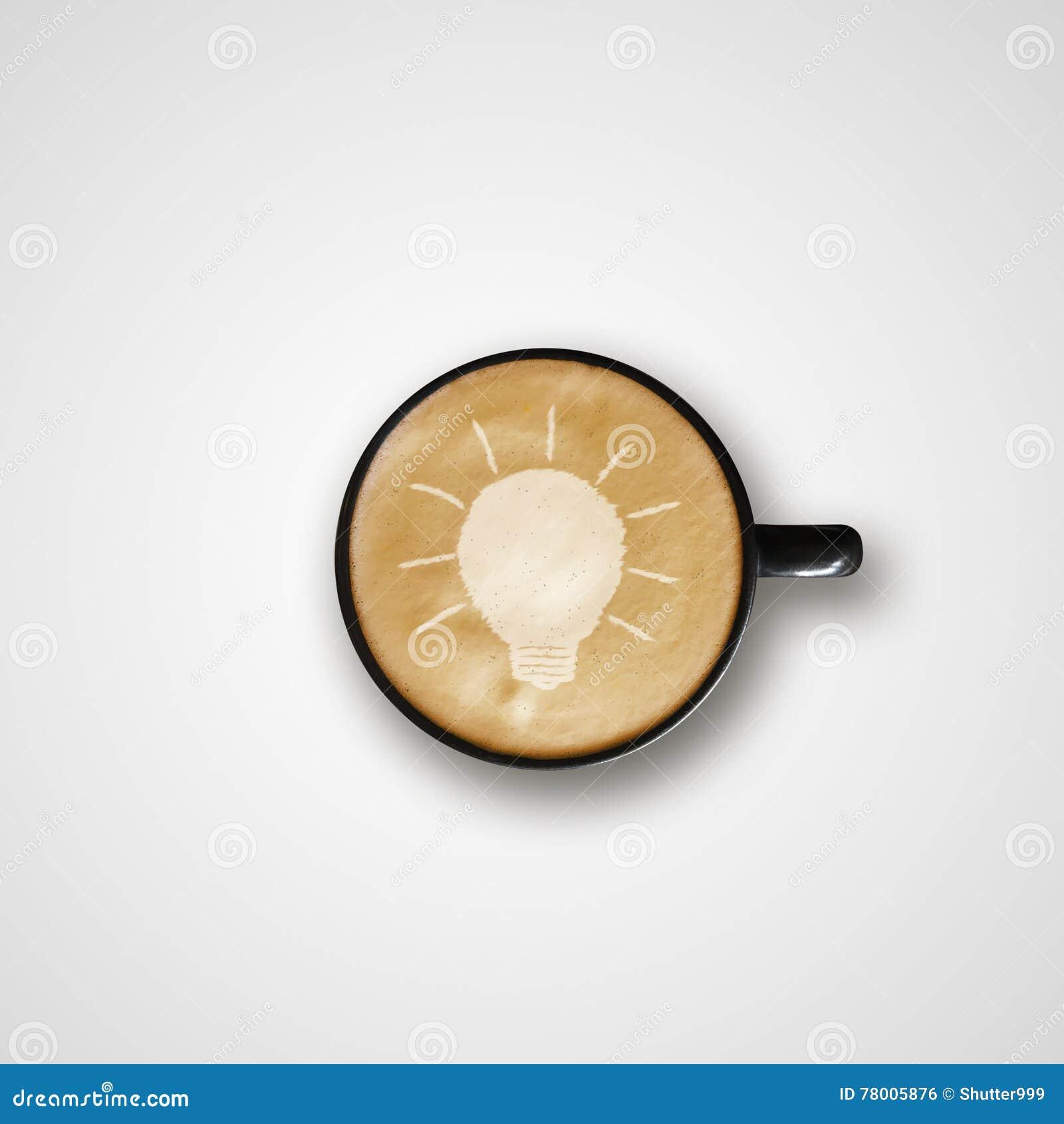 Glühlampe Zeichnung Latte Art Coffee Cup