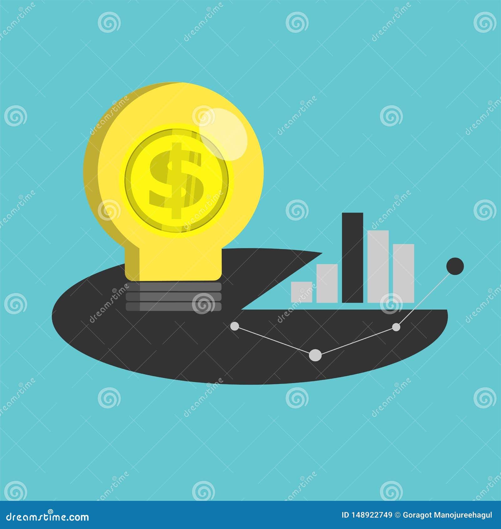 GlühlampeGoldmünze- und Diagrammvektor