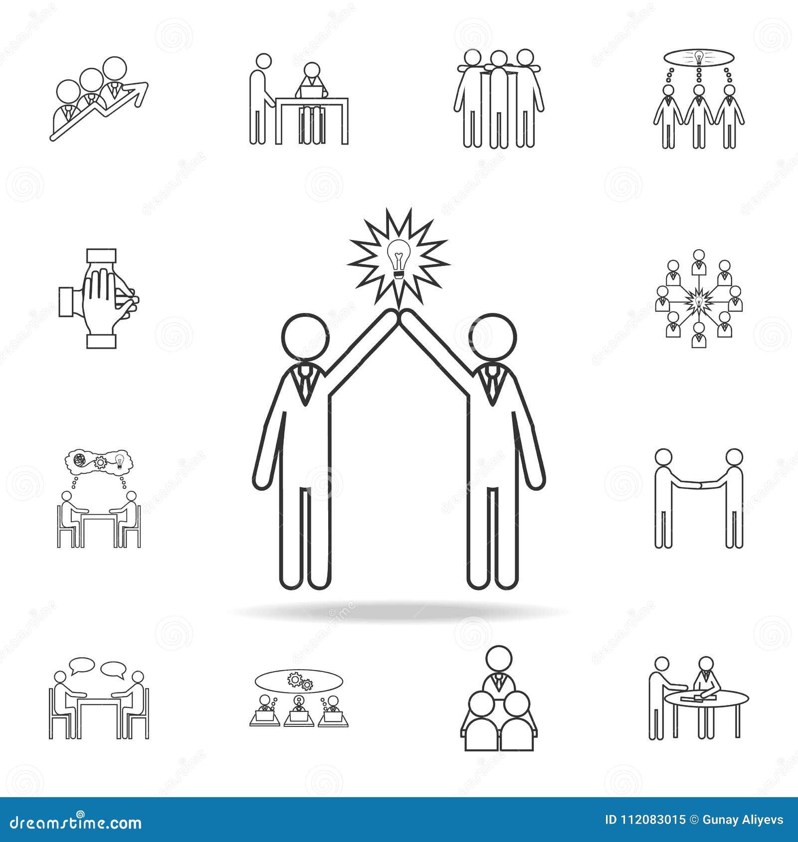 Glühlampeleutekonzept der Ikone mit zwei Leuten Ausführlicher Satz Teamarbeits-Entwurfsikonen Erstklassige Qualitätsgrafikdesigni