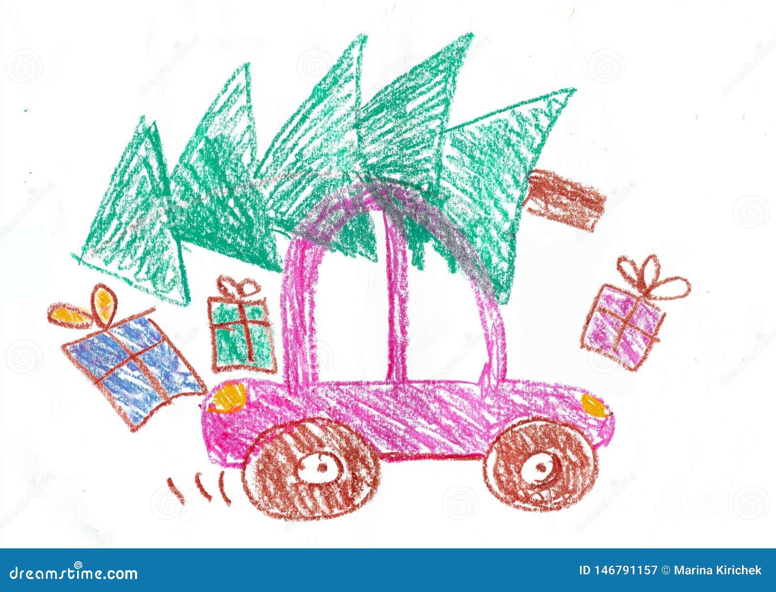 Gl?ckliche Familie auf der Autoreise Kind  ?s-Zeichnung