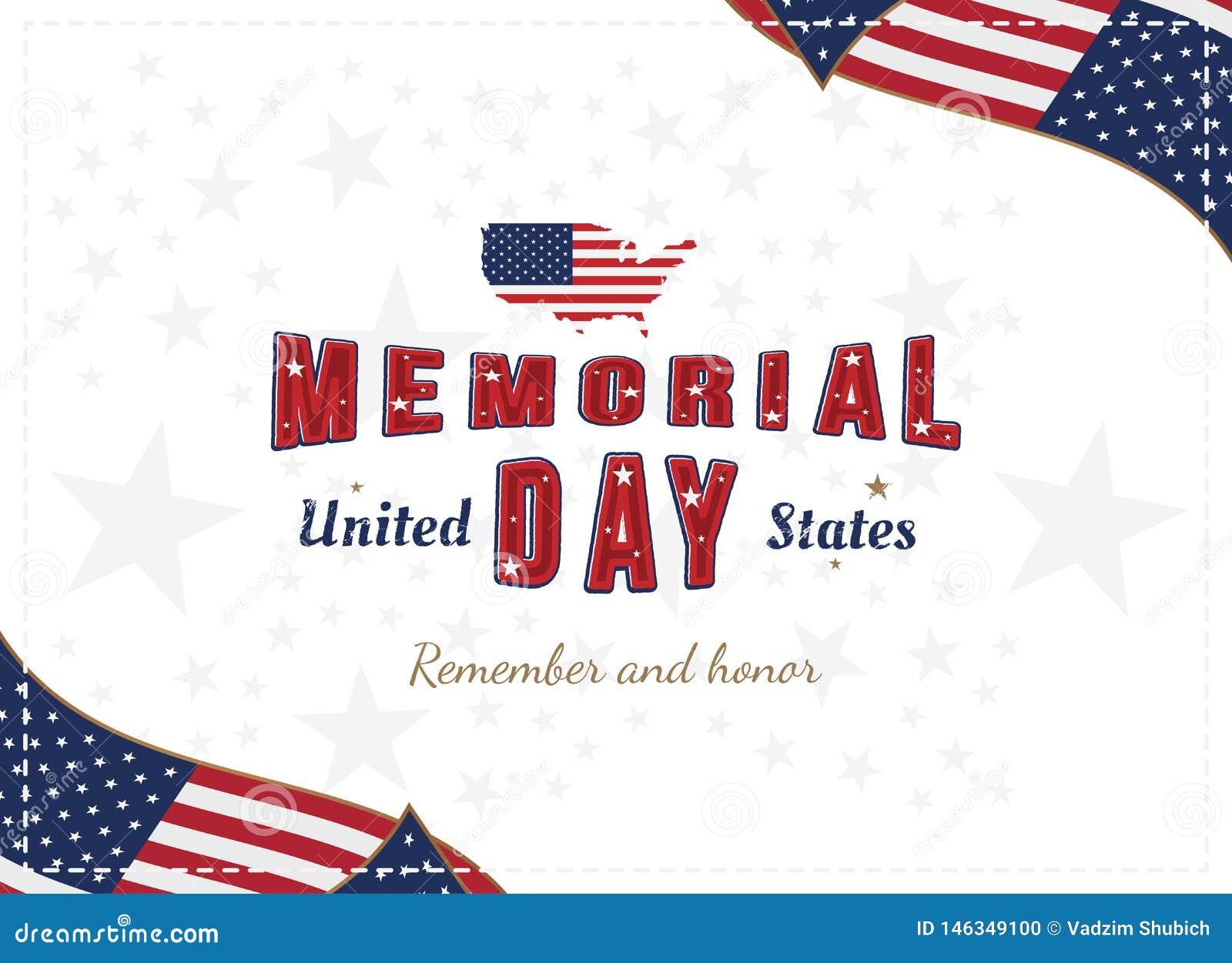 Gl?cklicher Volkstrauertag Gru?karte mit urspr?nglichem Guss und USA zeichnen und Flagge auf Schablone f?r amerikanische Feiertag